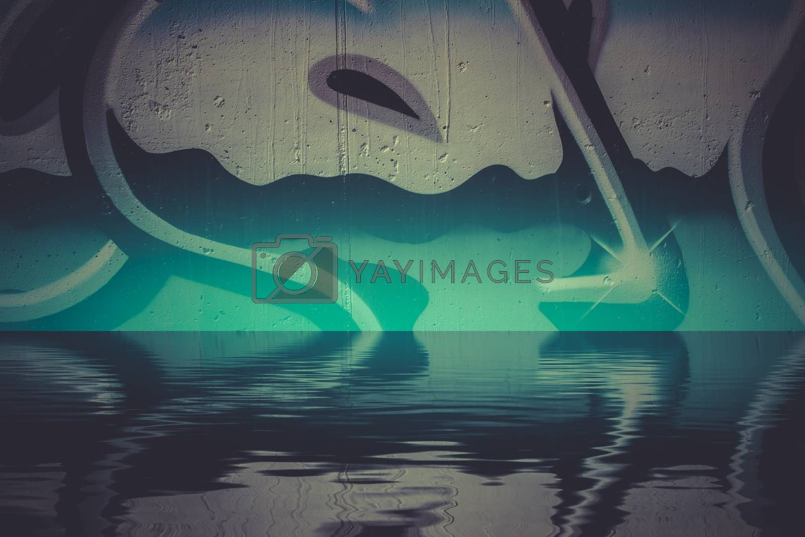 Abstract colorful graffiti reflection in the water, artistic chrome letters