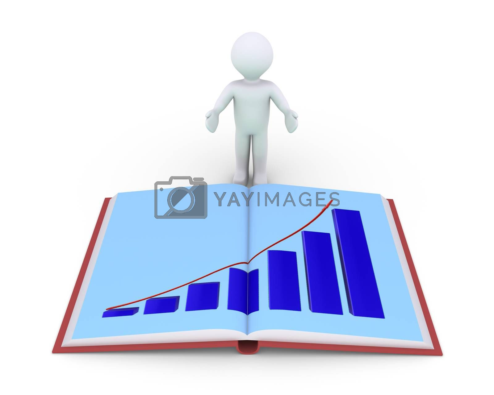 Person is showing an opened book with a graphic chart