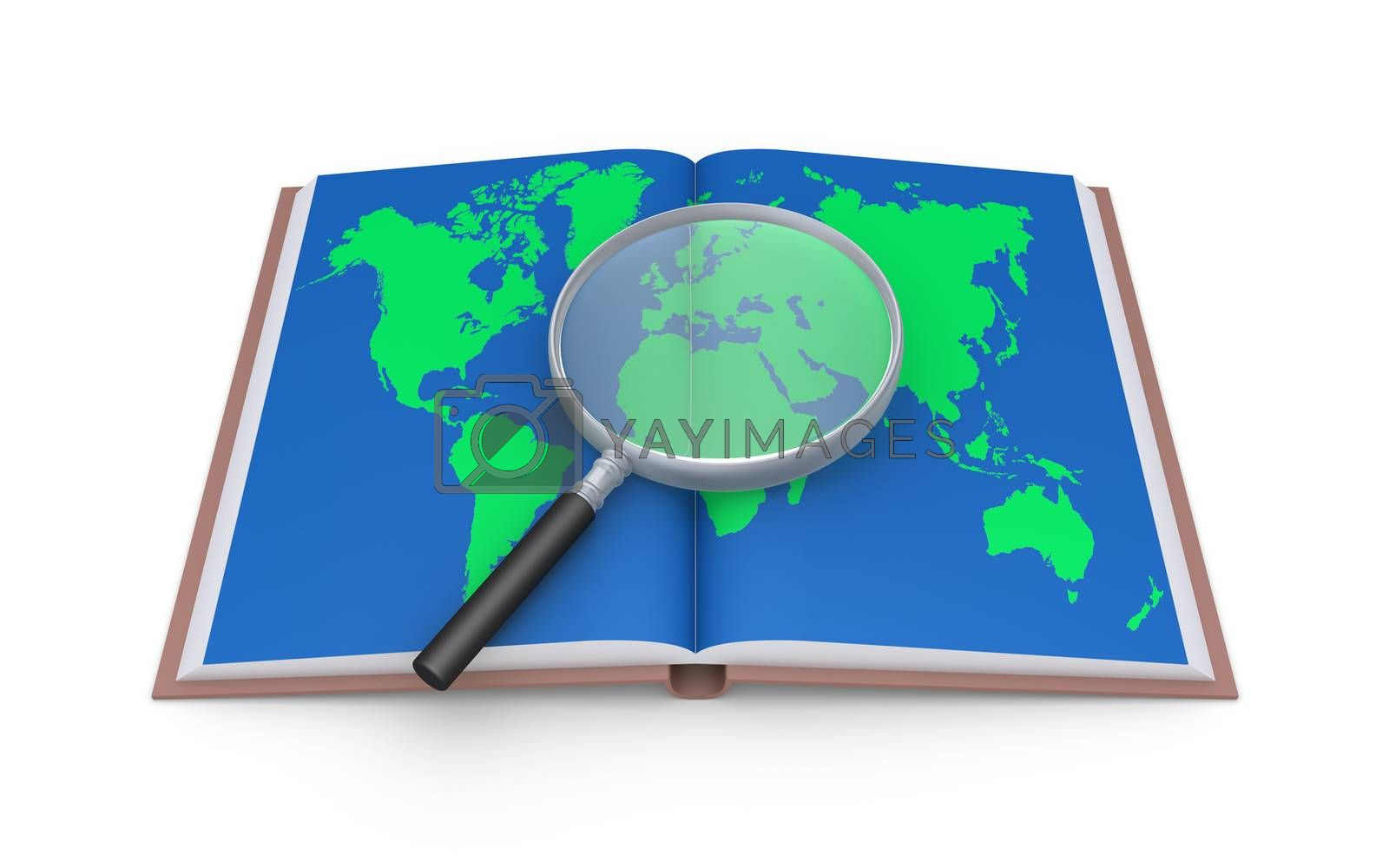 Magnifier on an opened book with the world map in its page