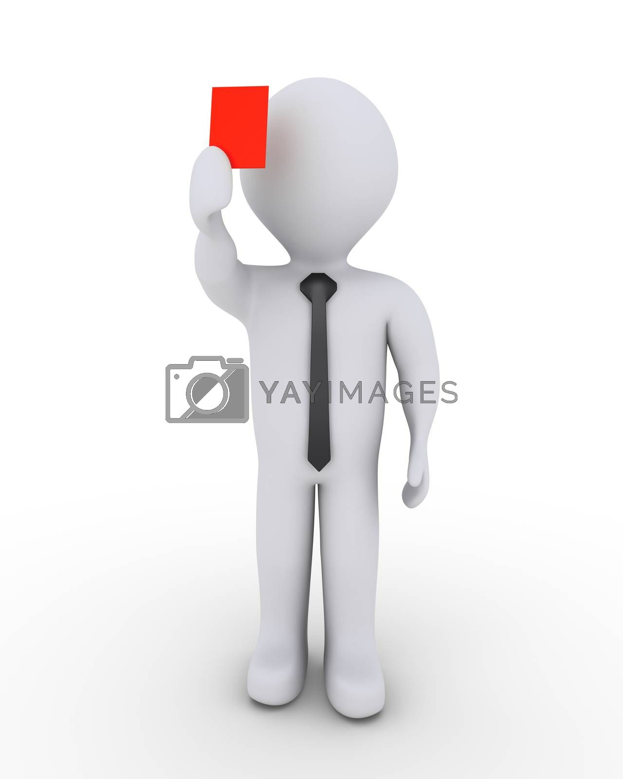 3d businessman is holding high a red card