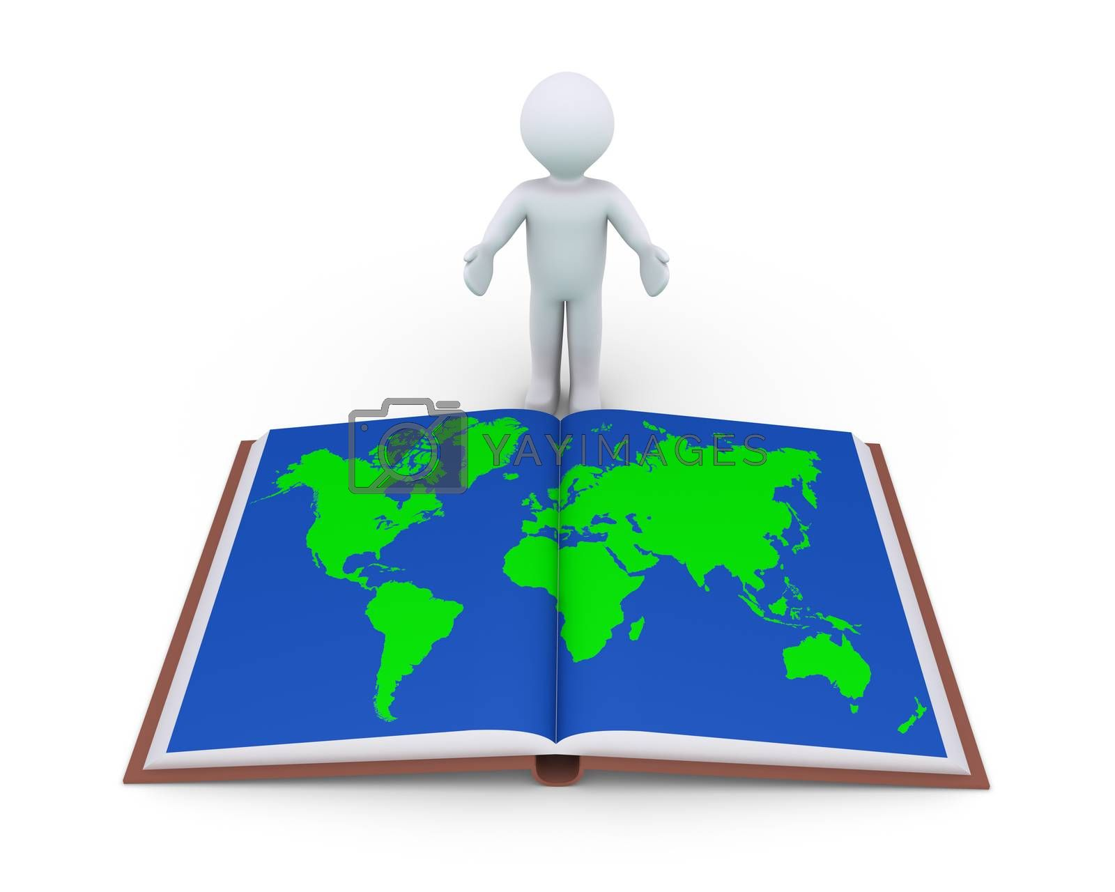 Person is showing an opened book with the world map in its page