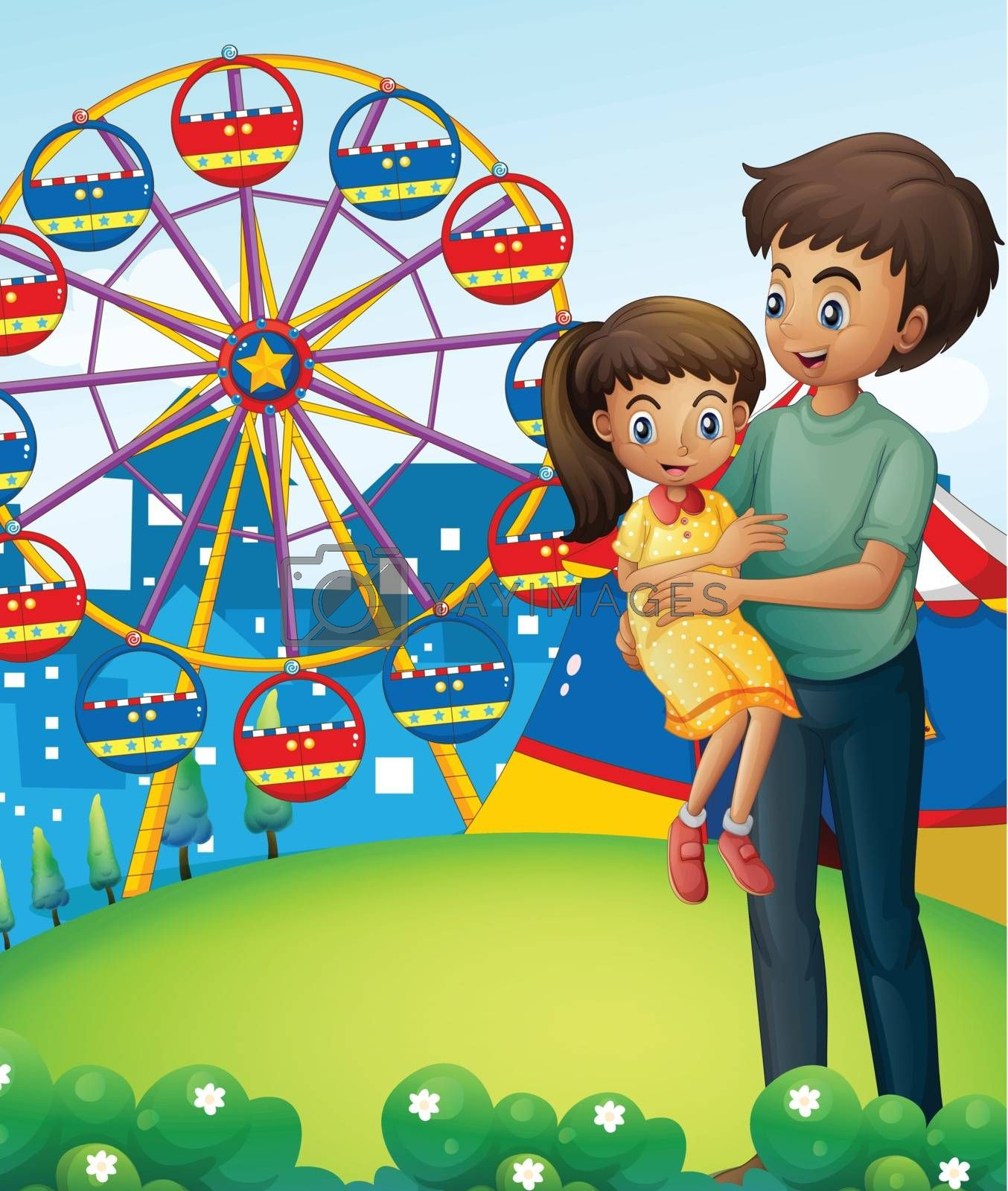 Illustration of a father with his daughter at the carnival