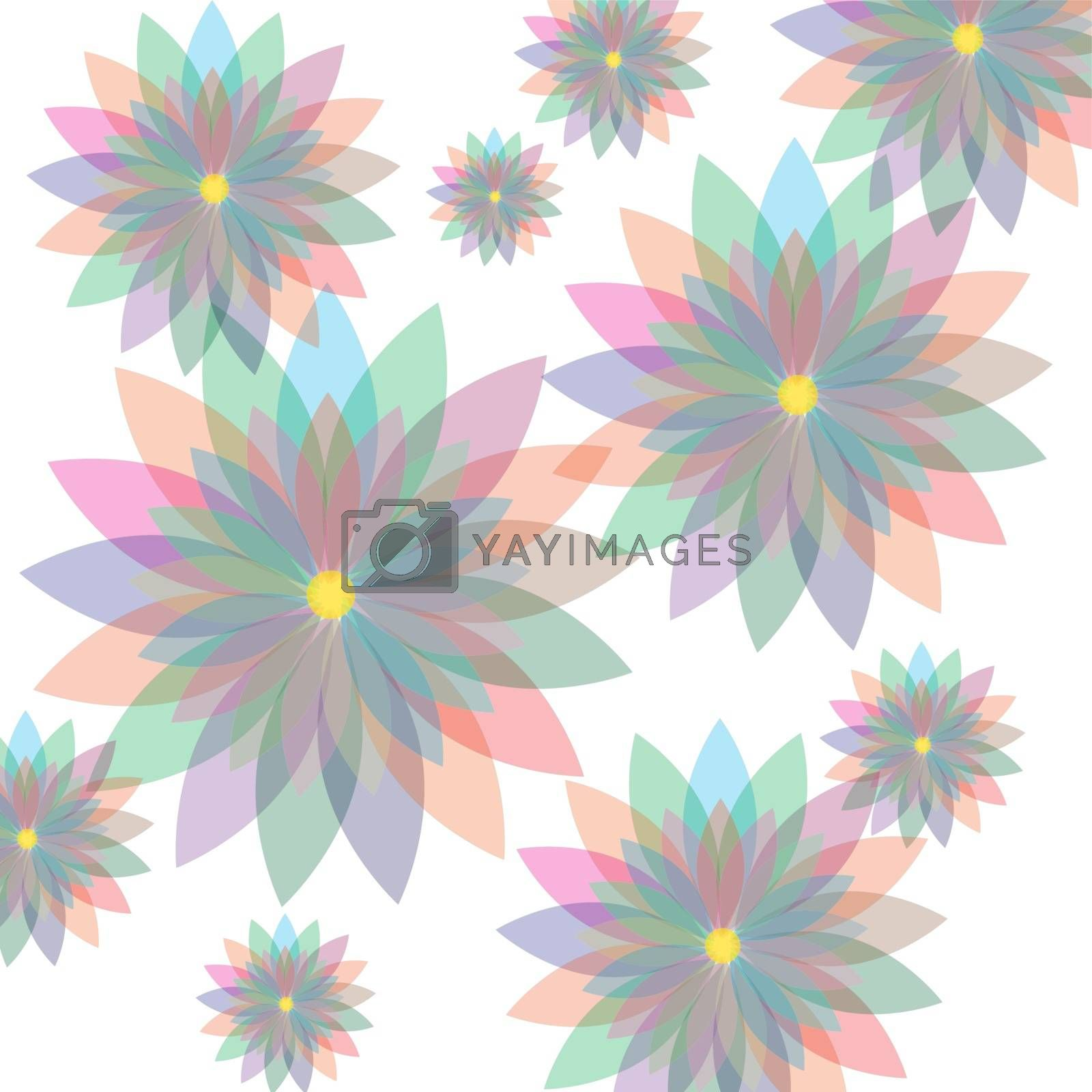 Seamless floral pastel pattern with colorful flowers, stock vector