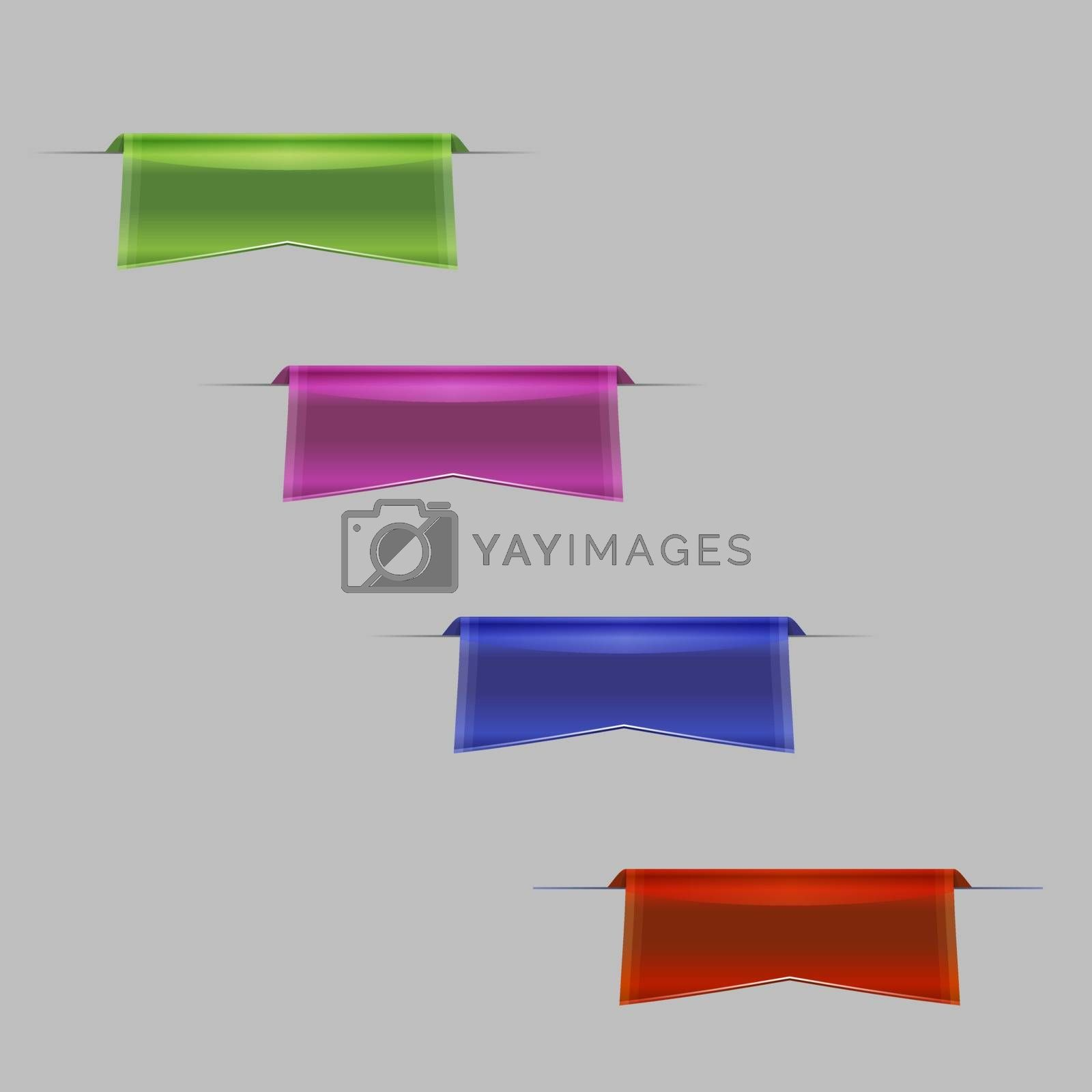 Set of Sleek Ribbons, web icons, template, label design
