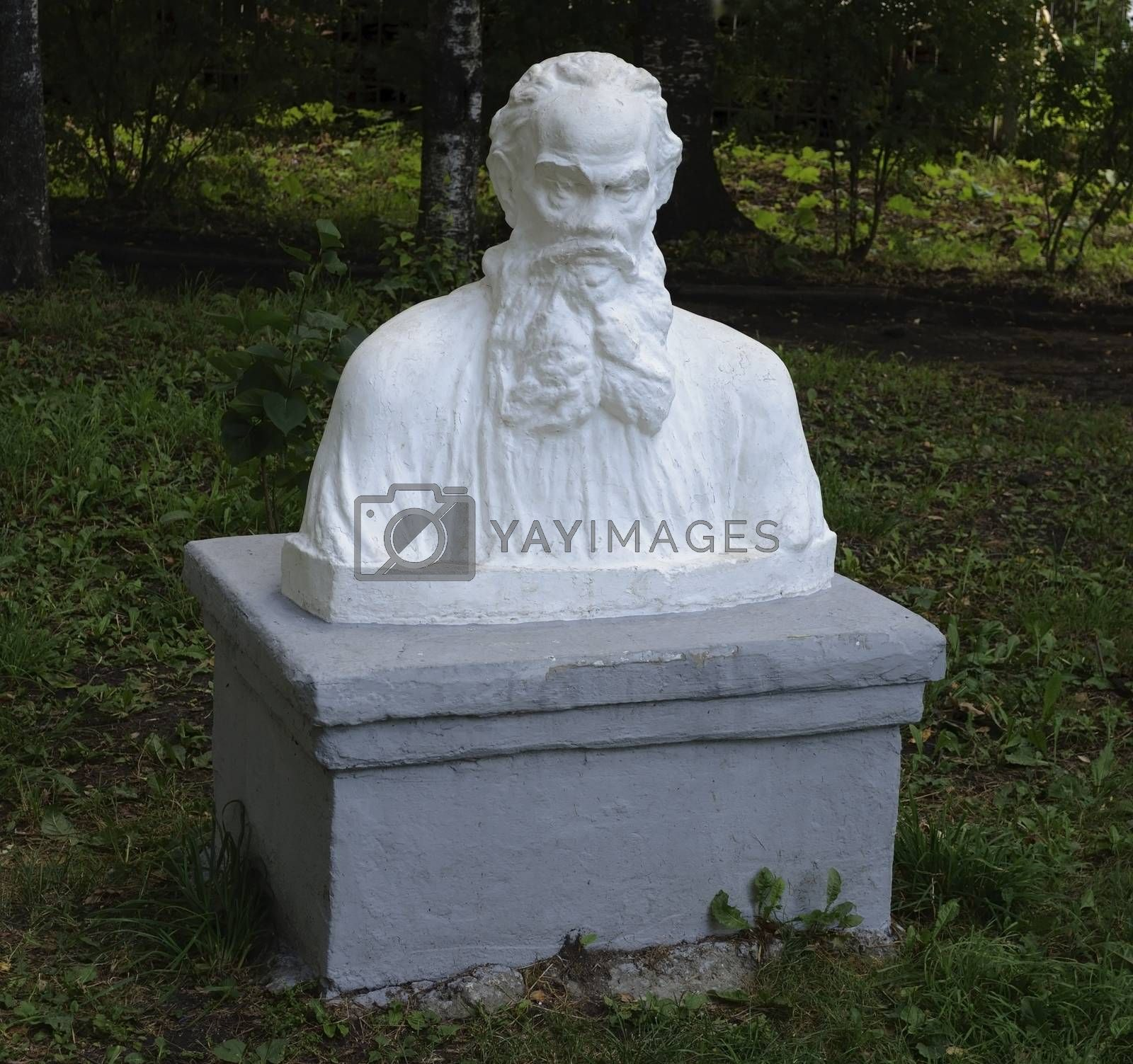 Monument to Russian writer Leo Tolstoy in park of Tutaev, Russia