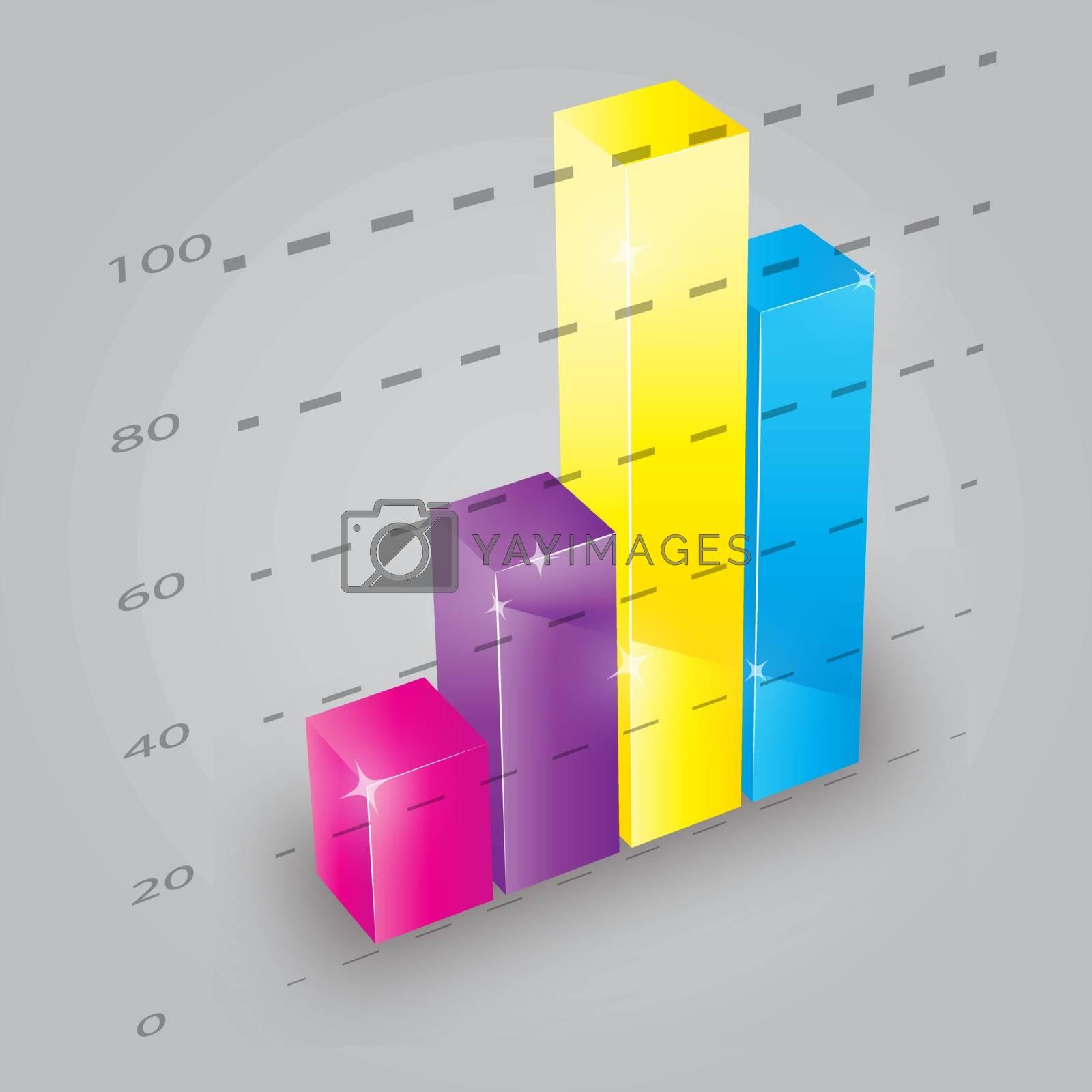 Colorful 3D bar chart, vector illustration