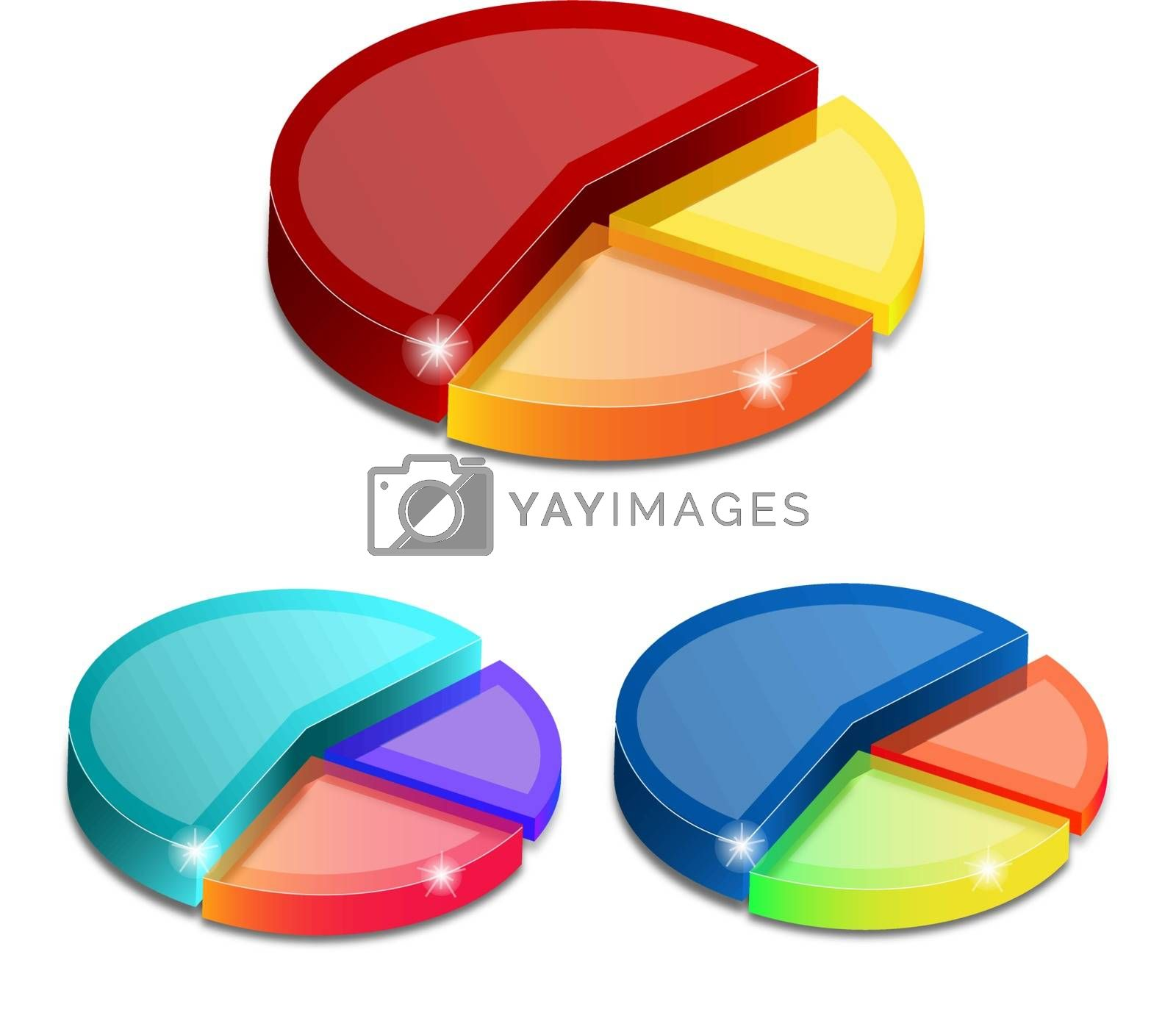 3d pie graphs isolated on white background, vector illustration