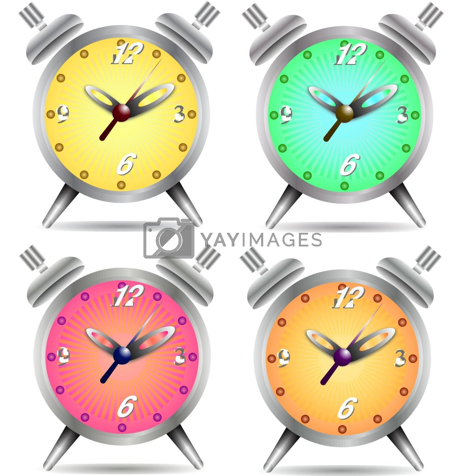 Colorful alarm clock isolated on white background, vector illustration