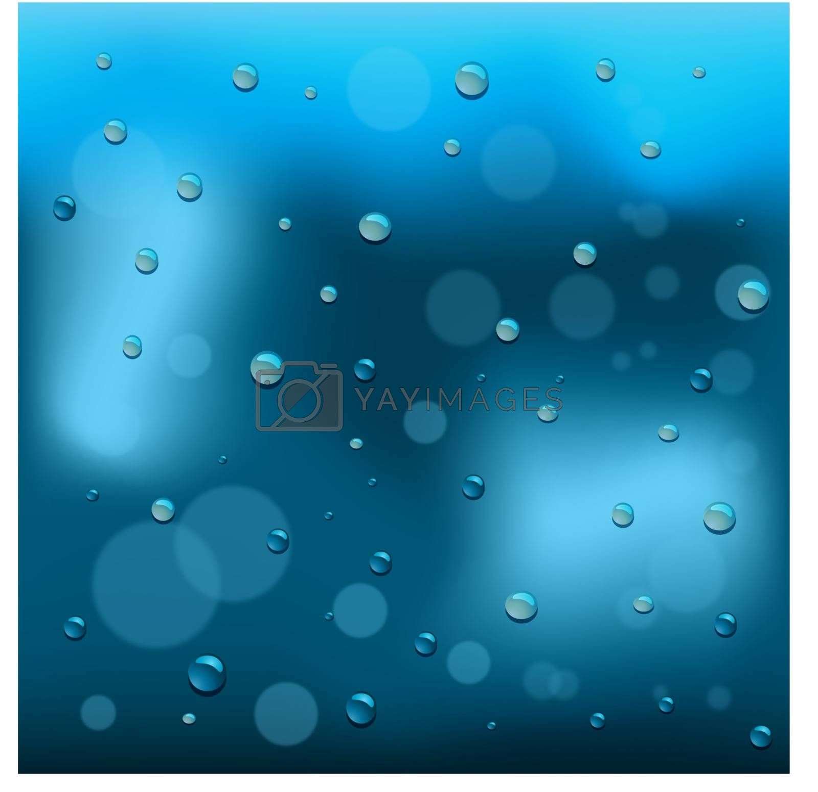 Rain drop on glass background, vector illustration