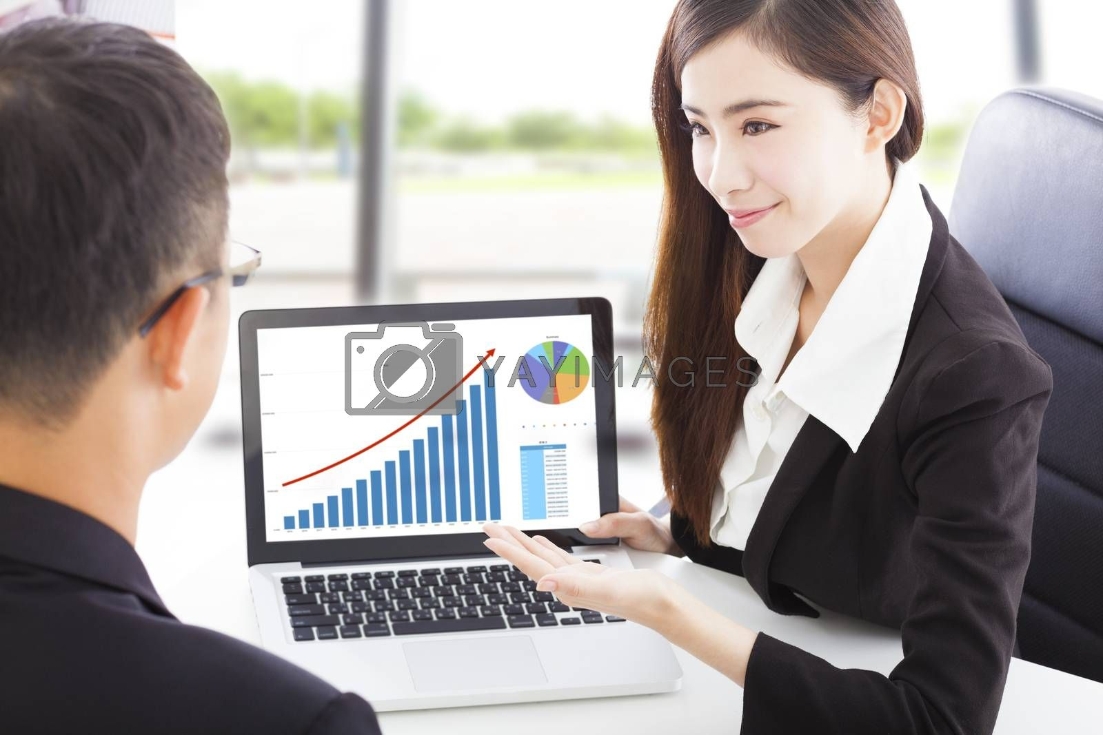 Business woman showing stock market financial situation