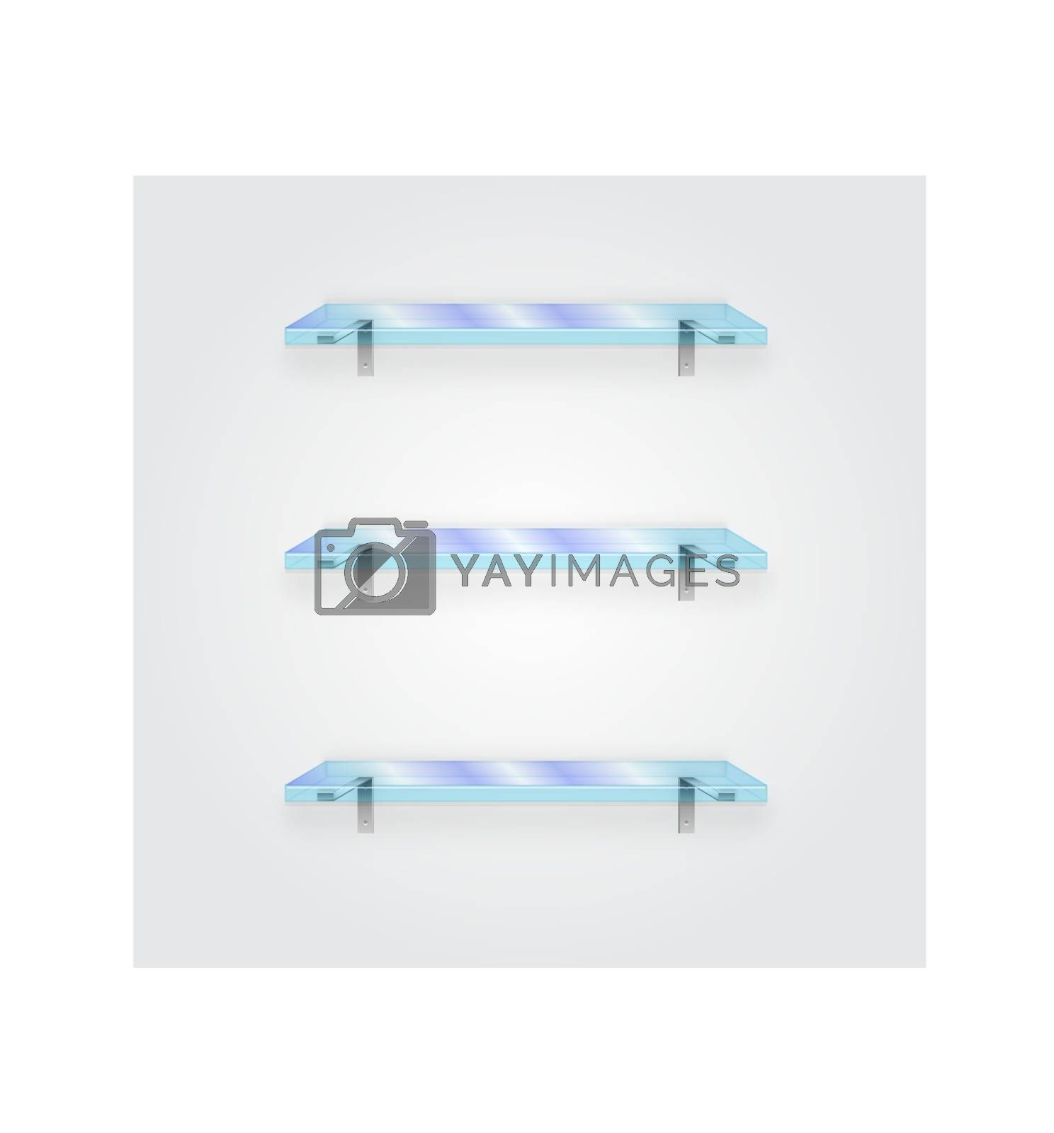 Glass shelf with white background, vector illustration