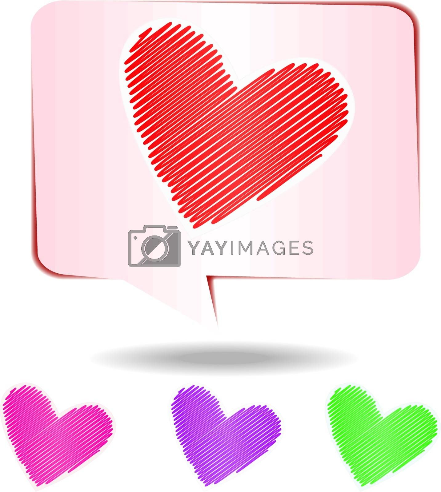 Colorful hearts scribble isolated on white background, vector illustration