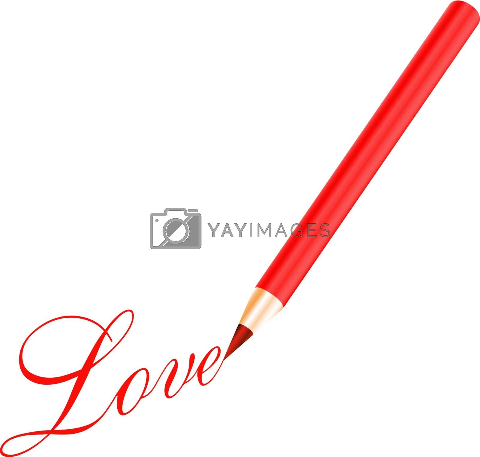 Red pencil and red love letter isolated on white background