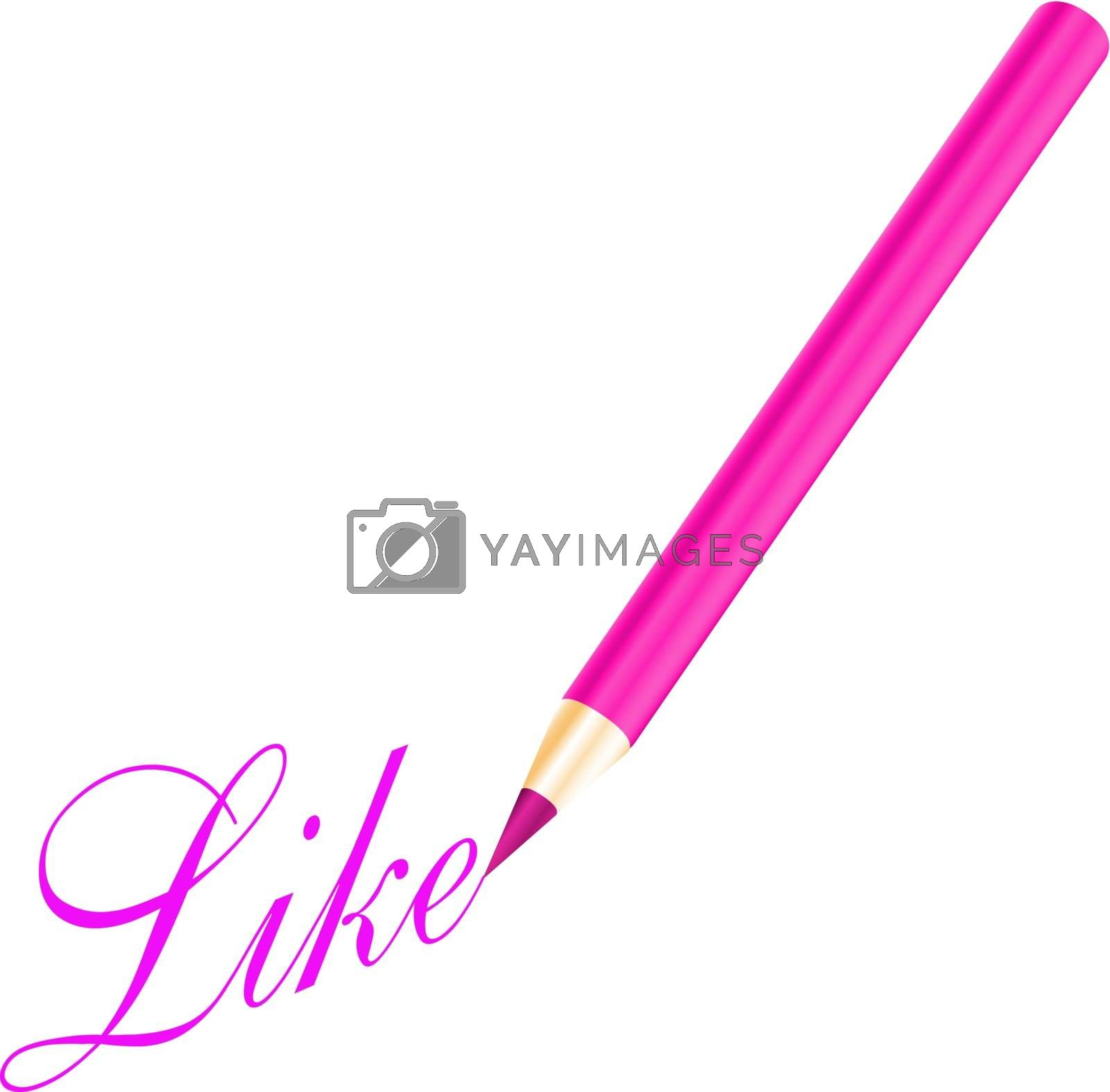Pink pencil and like letter isolated on white background