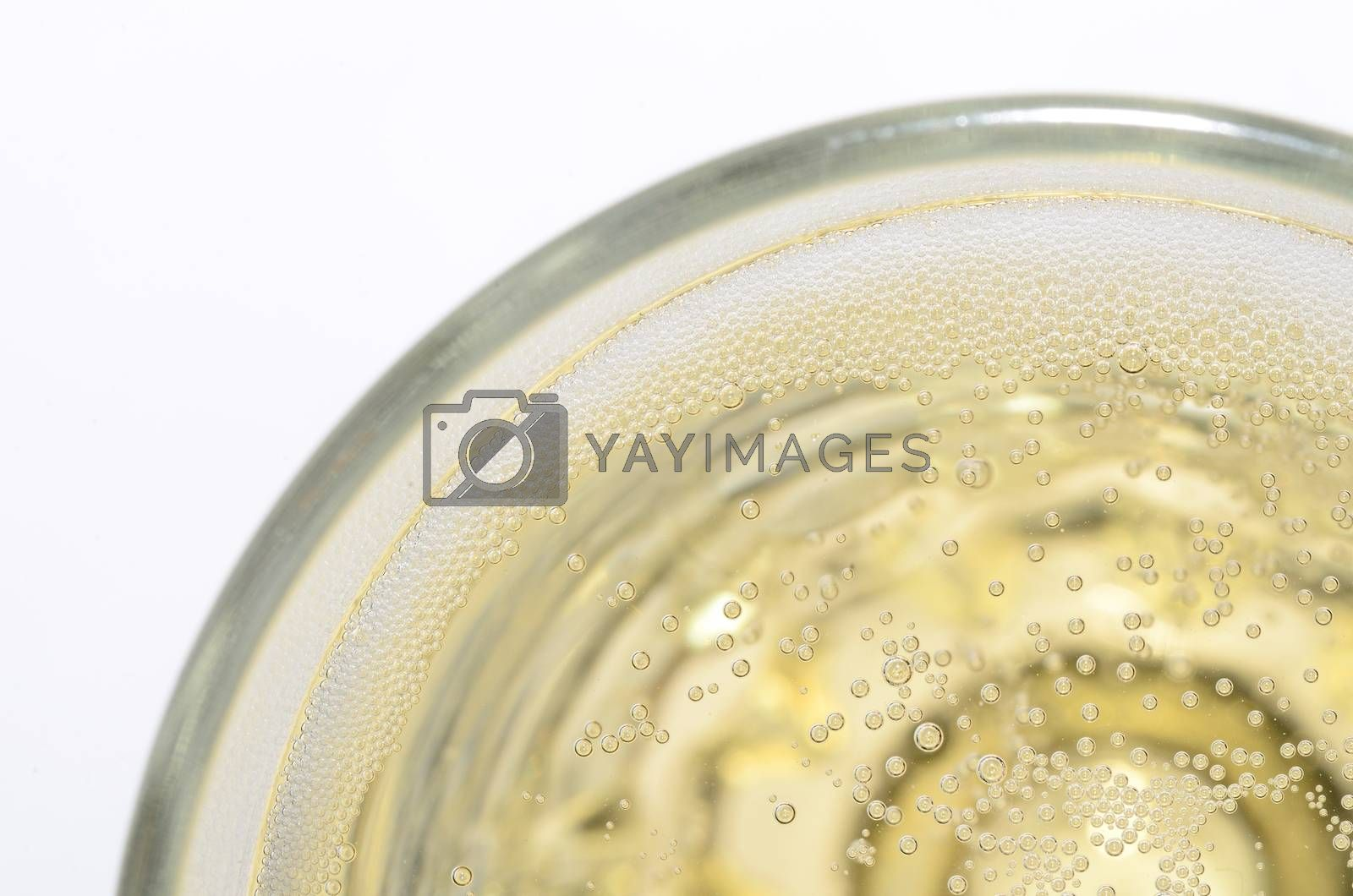 fine champagne in glas view from top