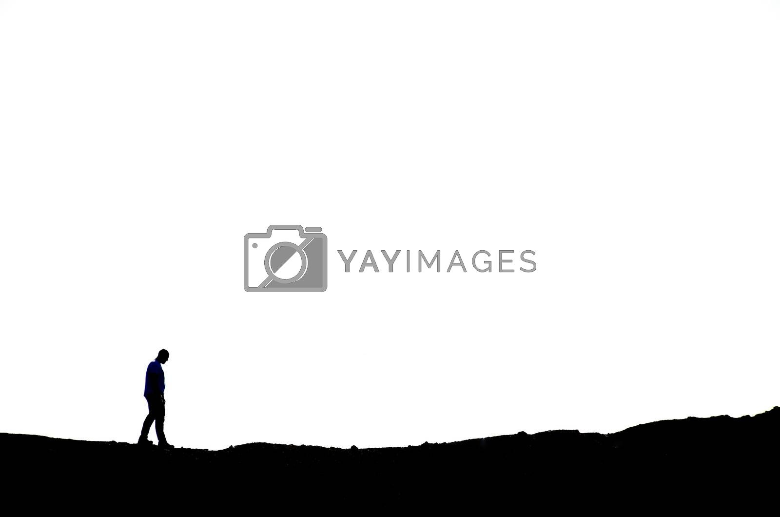 man hiking on mountain background in black and white