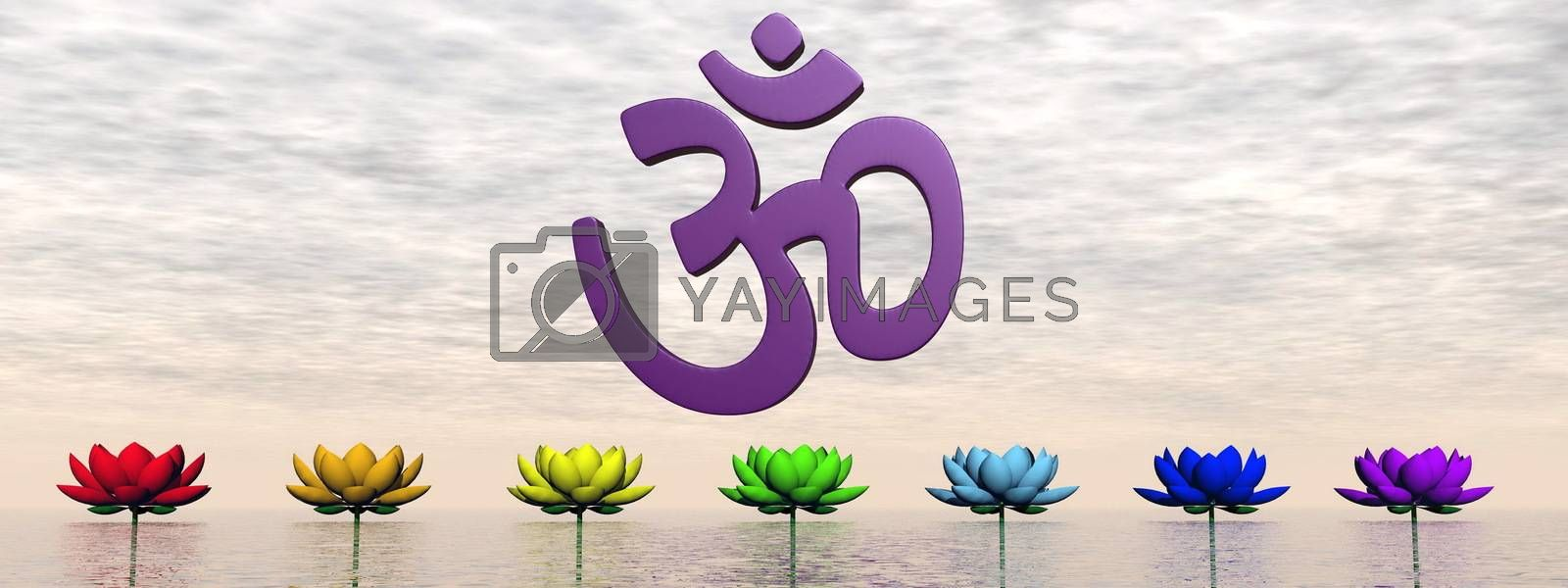 Violet aum upon lily flowers with chakra colors by sunset sky