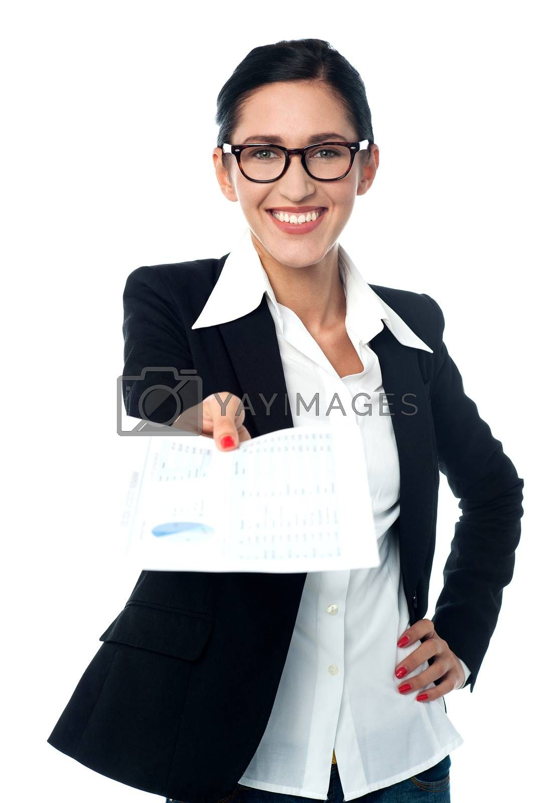 Young business woman showing her company reports