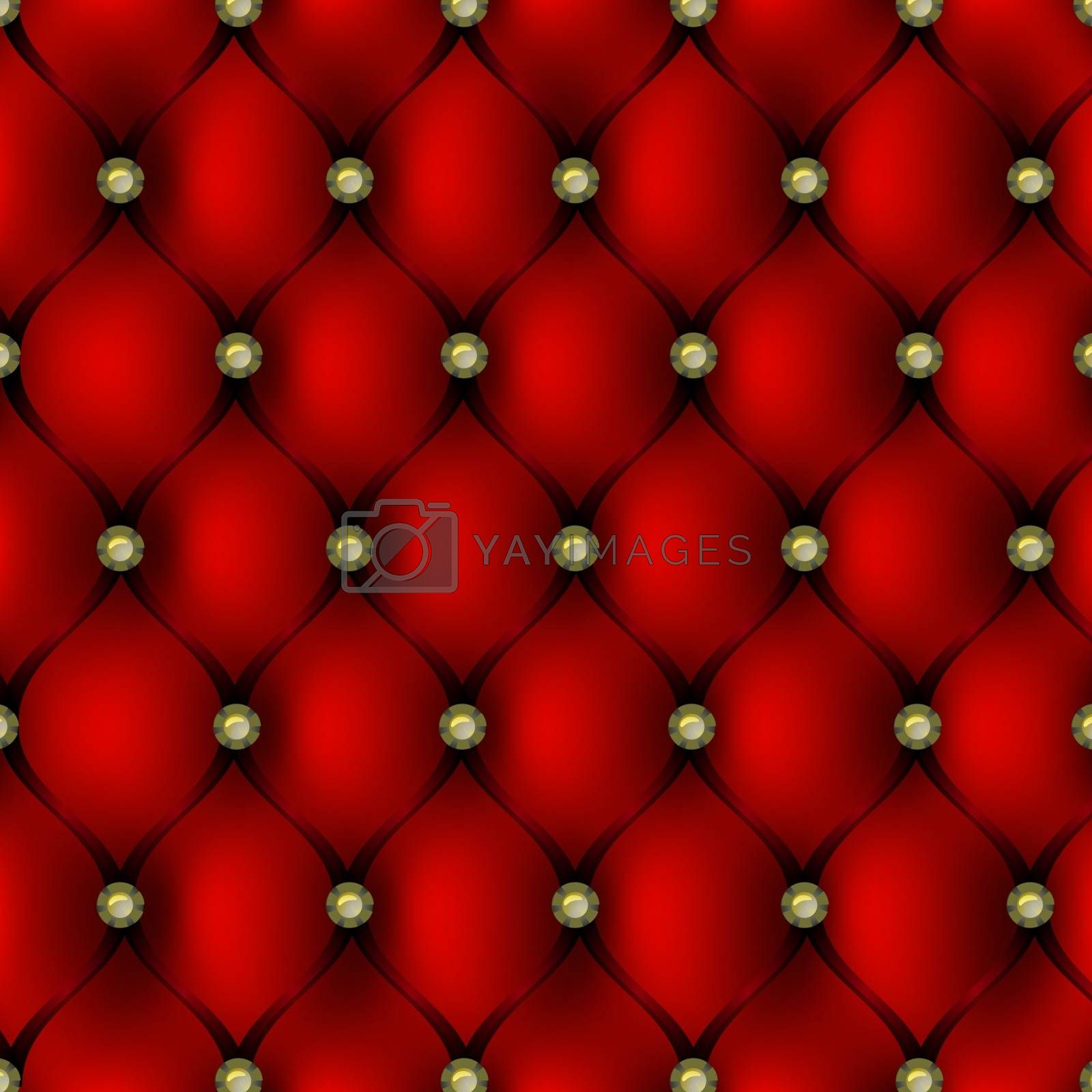 Red leather upholstery with gold button pattern background, vector illustration