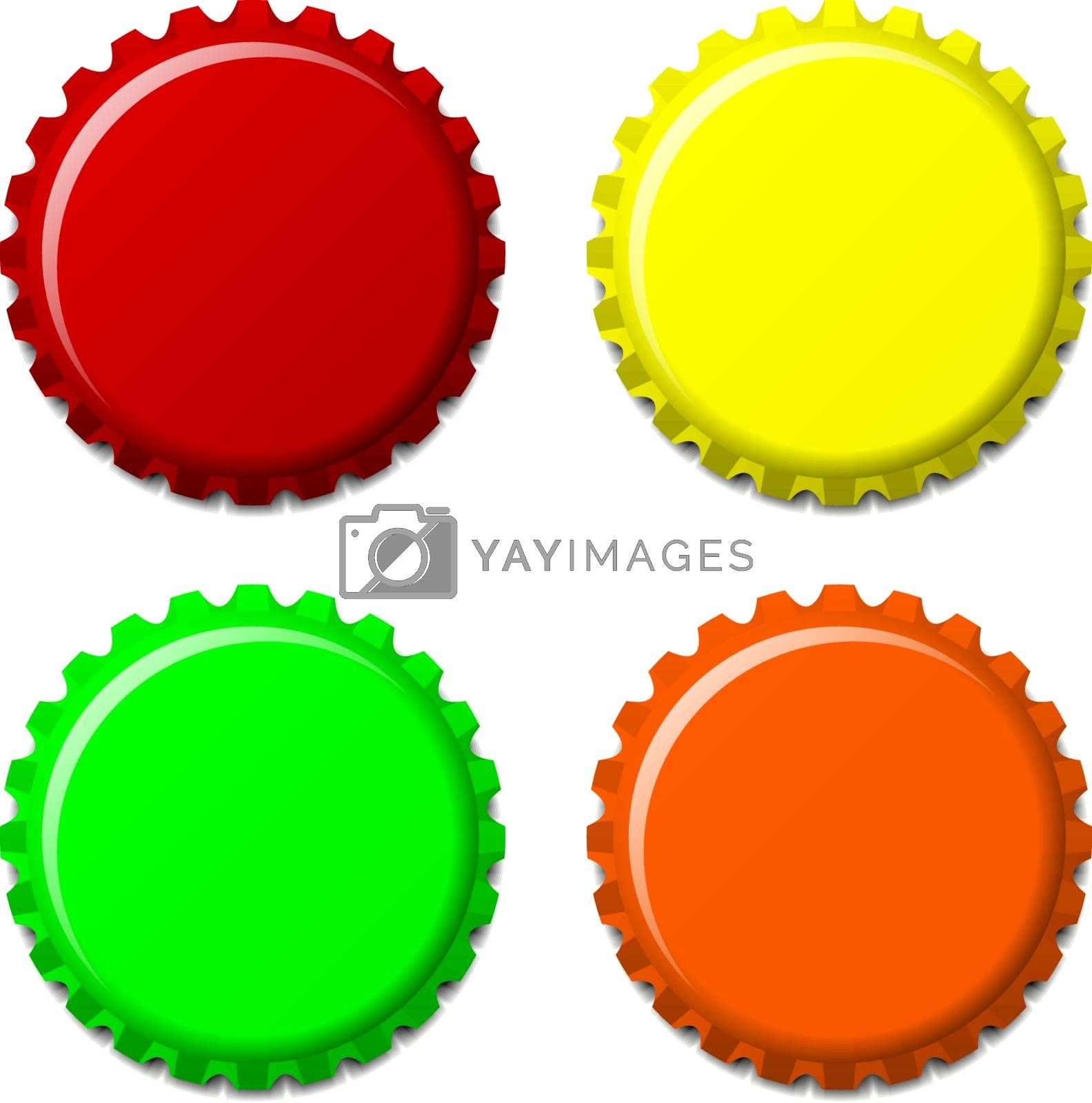 Set of bottle caps in colors isolated on white background, vector illustration