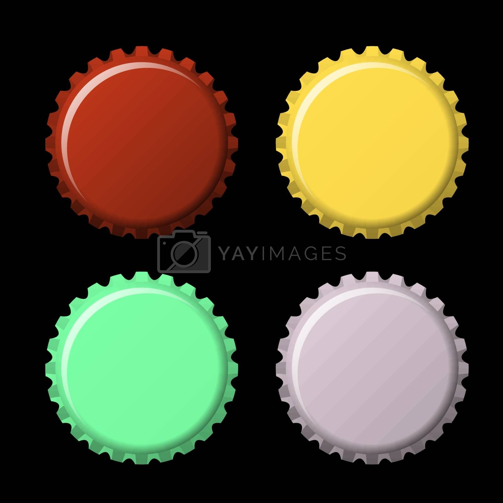Set of bottle caps in colors isolated on black  background, vector illustration