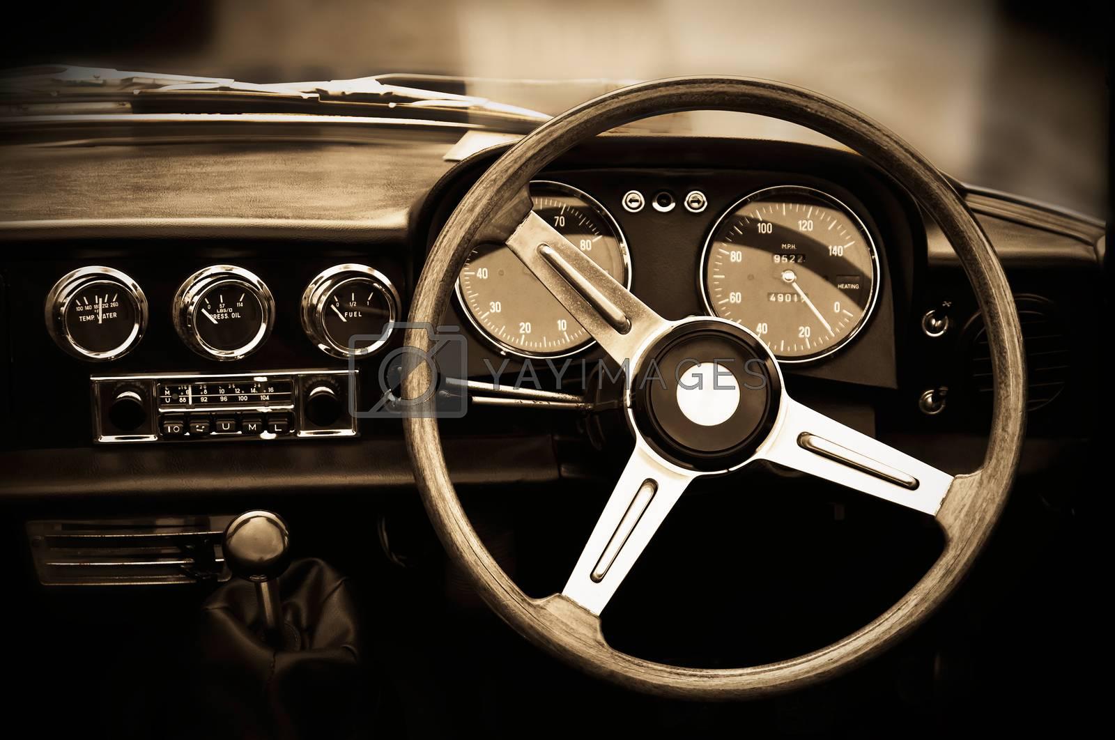 Vintage car dashboard, sepia toning
