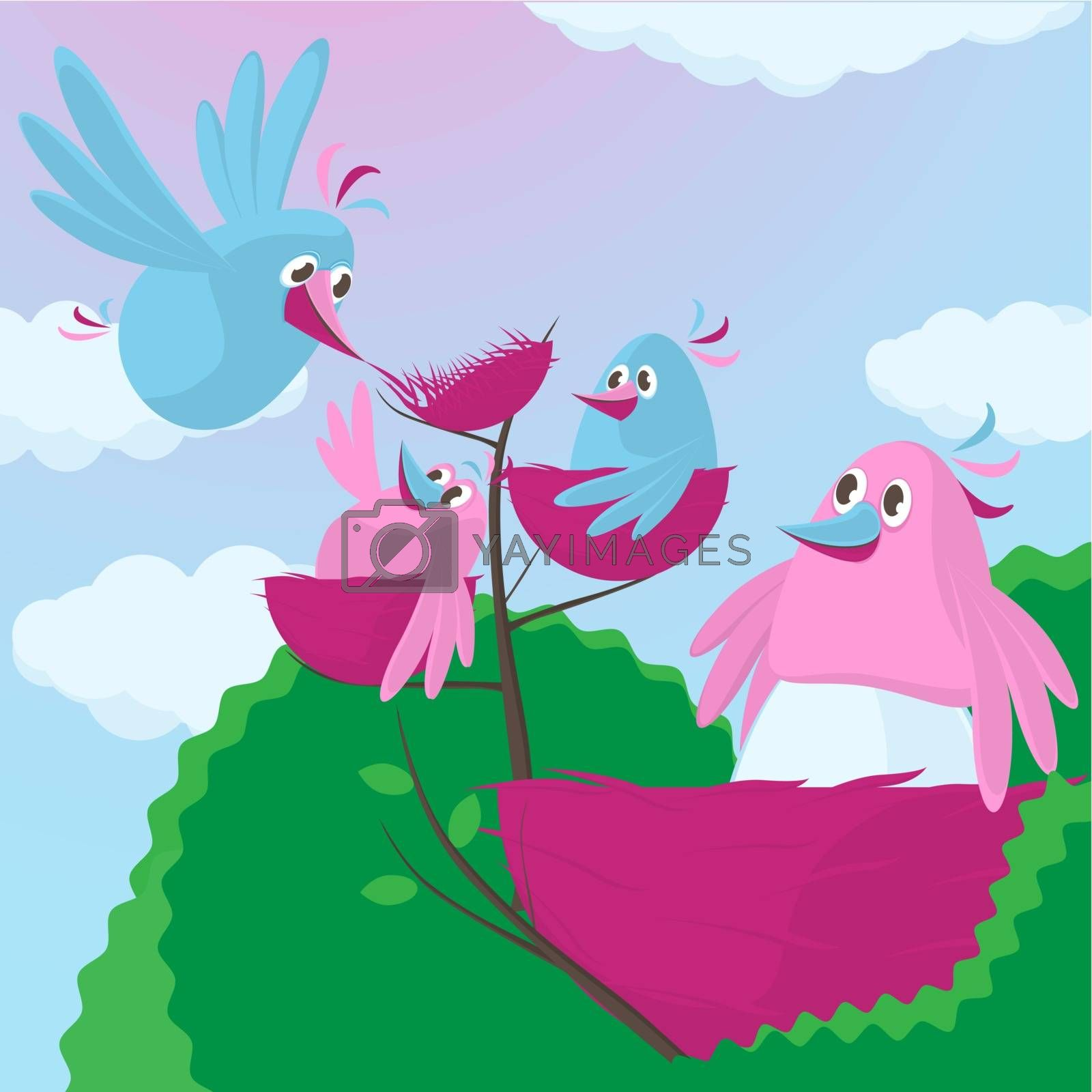 Cute cartoon birds with an expanding family with the female sitting on the nest with ancillary small nests above containing babies as the father builds another little nest at the top for a new arrival