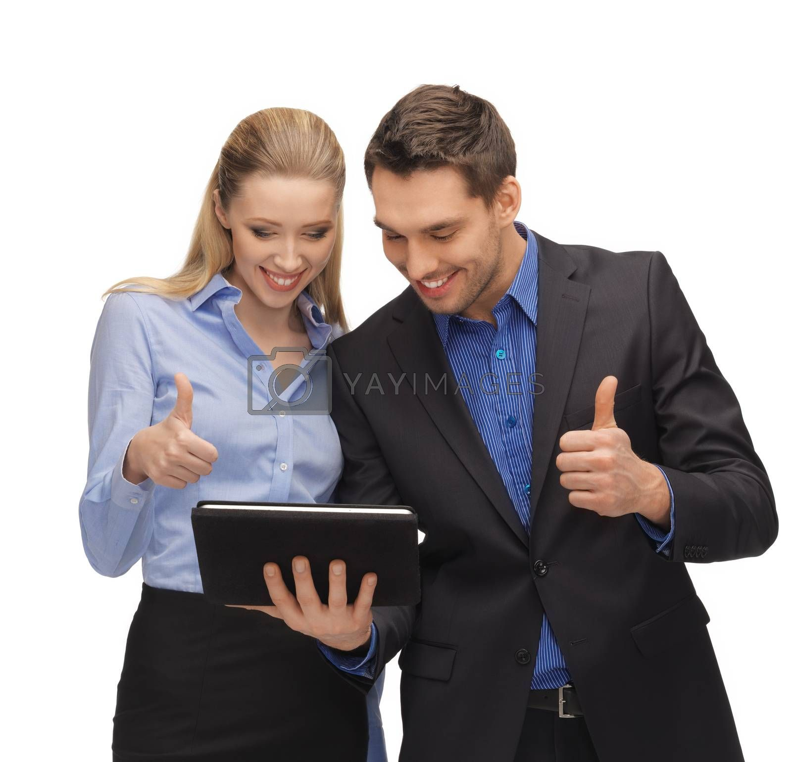 man and woman with tablet pc by dolgachov