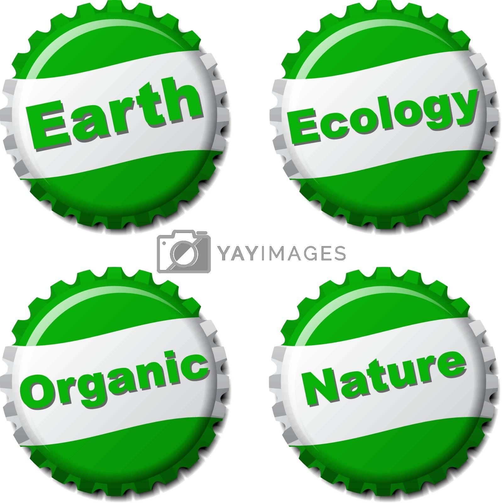 Set of earth bottle caps isolated on white background, vector illustration
