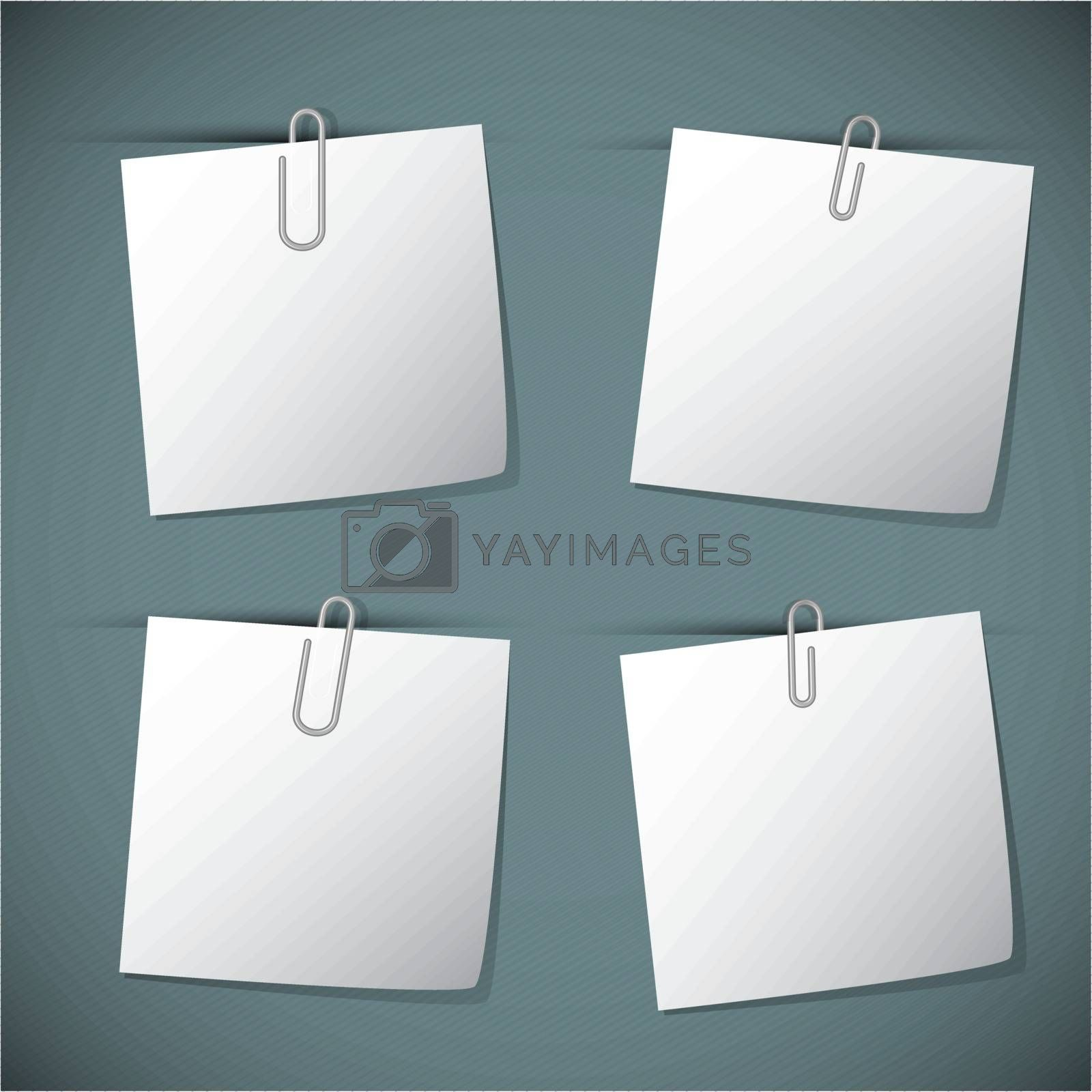 Note papers with paperclip, vector illustration