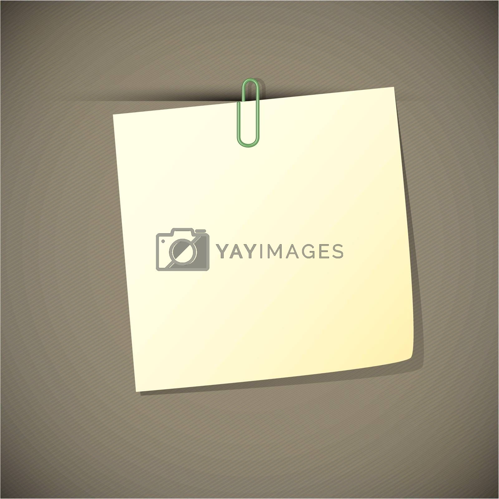 Green read note paper with paperclip, vector illustration