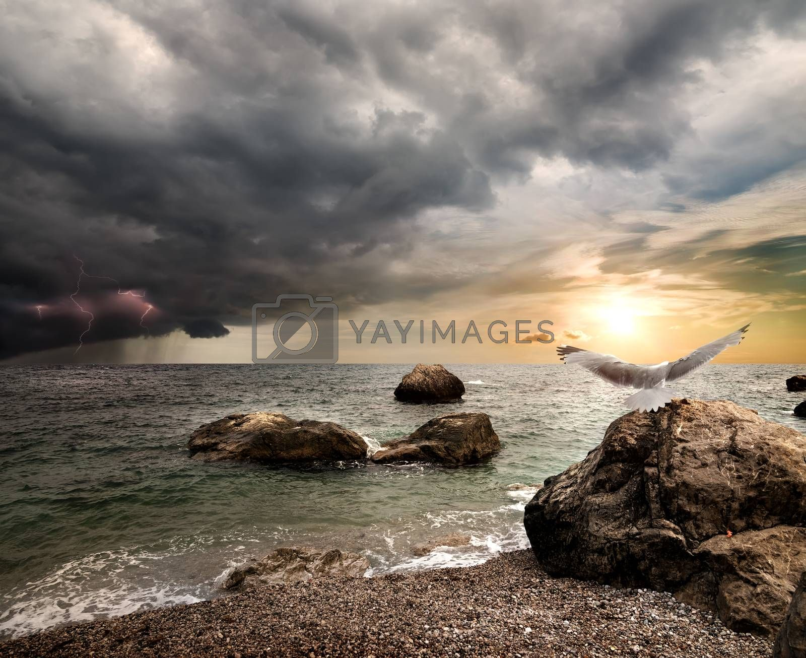 Thunderstorm over sea by Givaga