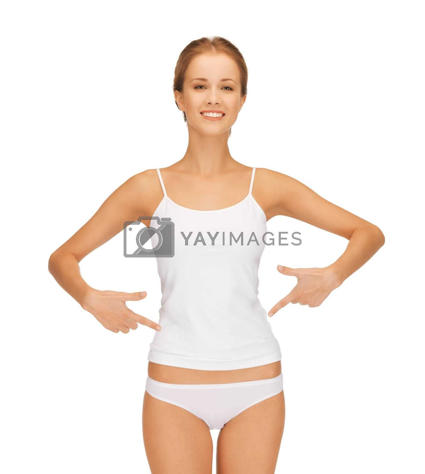 woman in blank shirt pointing at her belly by dolgachov