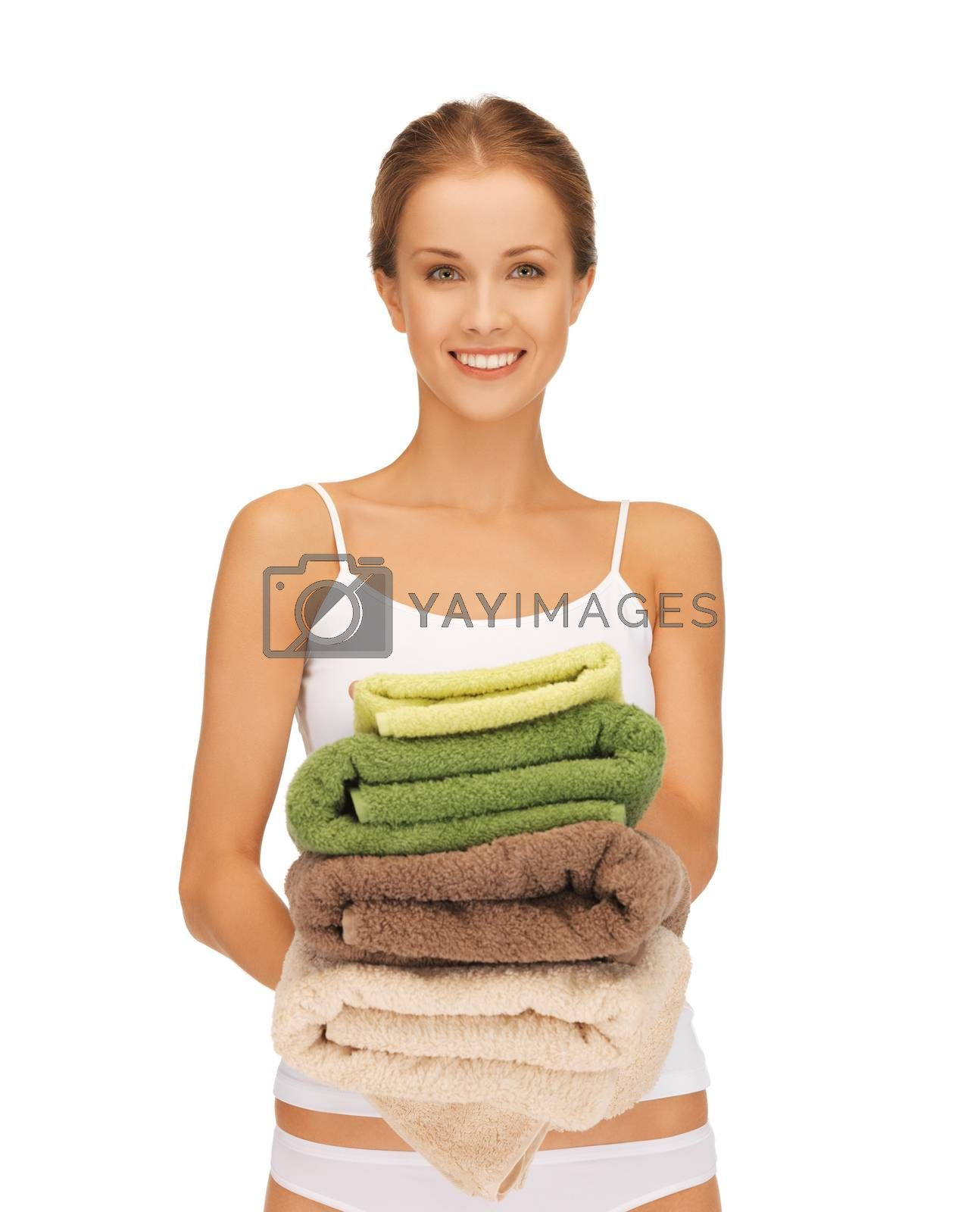 lovely housewife with towels by dolgachov