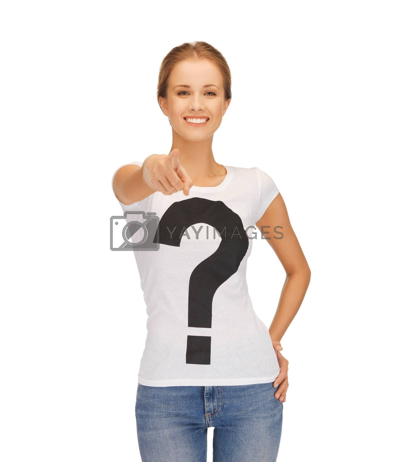 woman in white t-shirt pointing at you by dolgachov