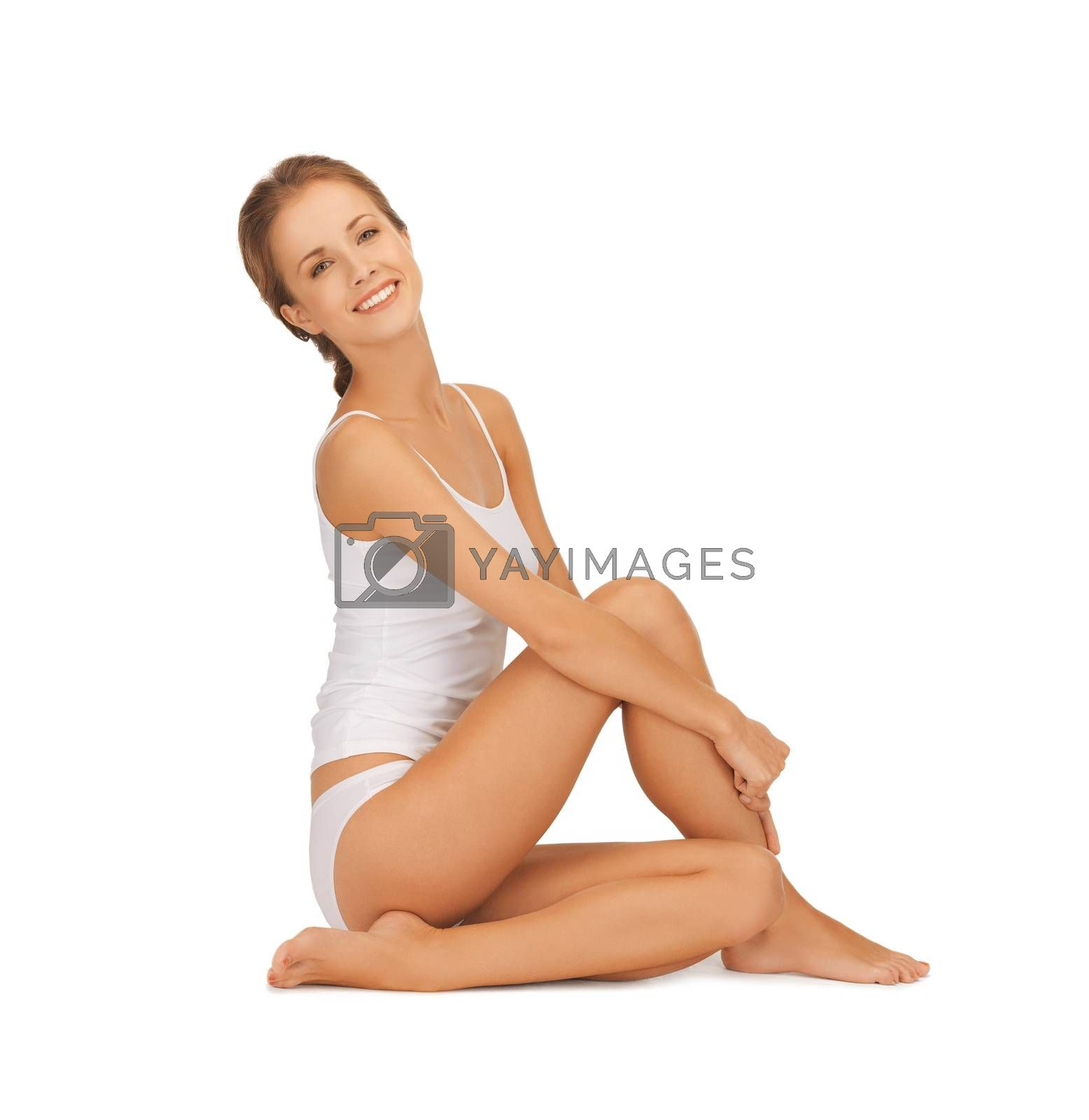 beautiful woman in white cotton underwear by dolgachov