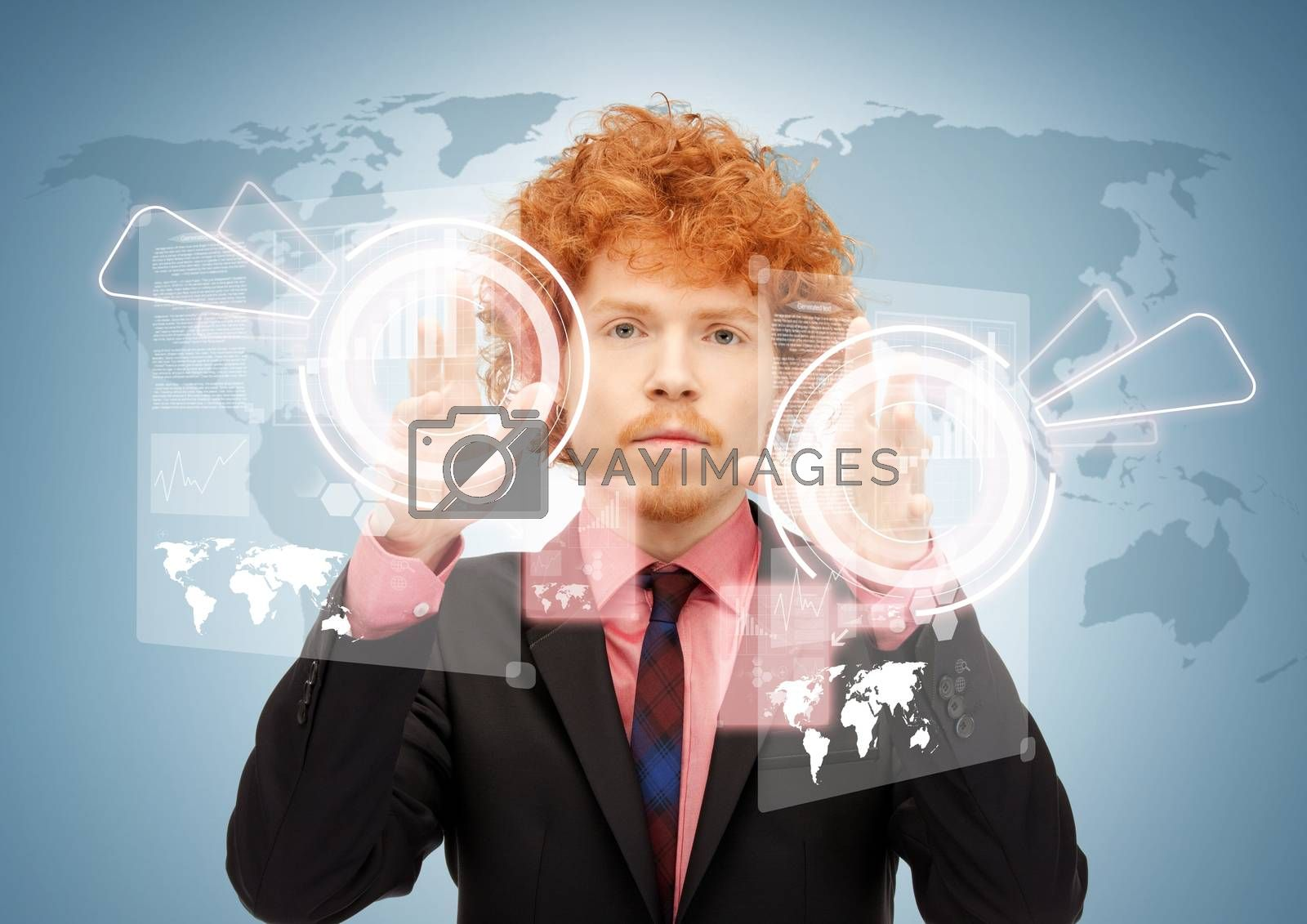 businessman touching virtual screen by dolgachov