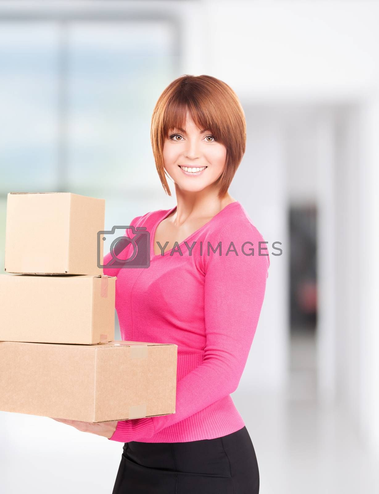 businesswoman with parcels by dolgachov