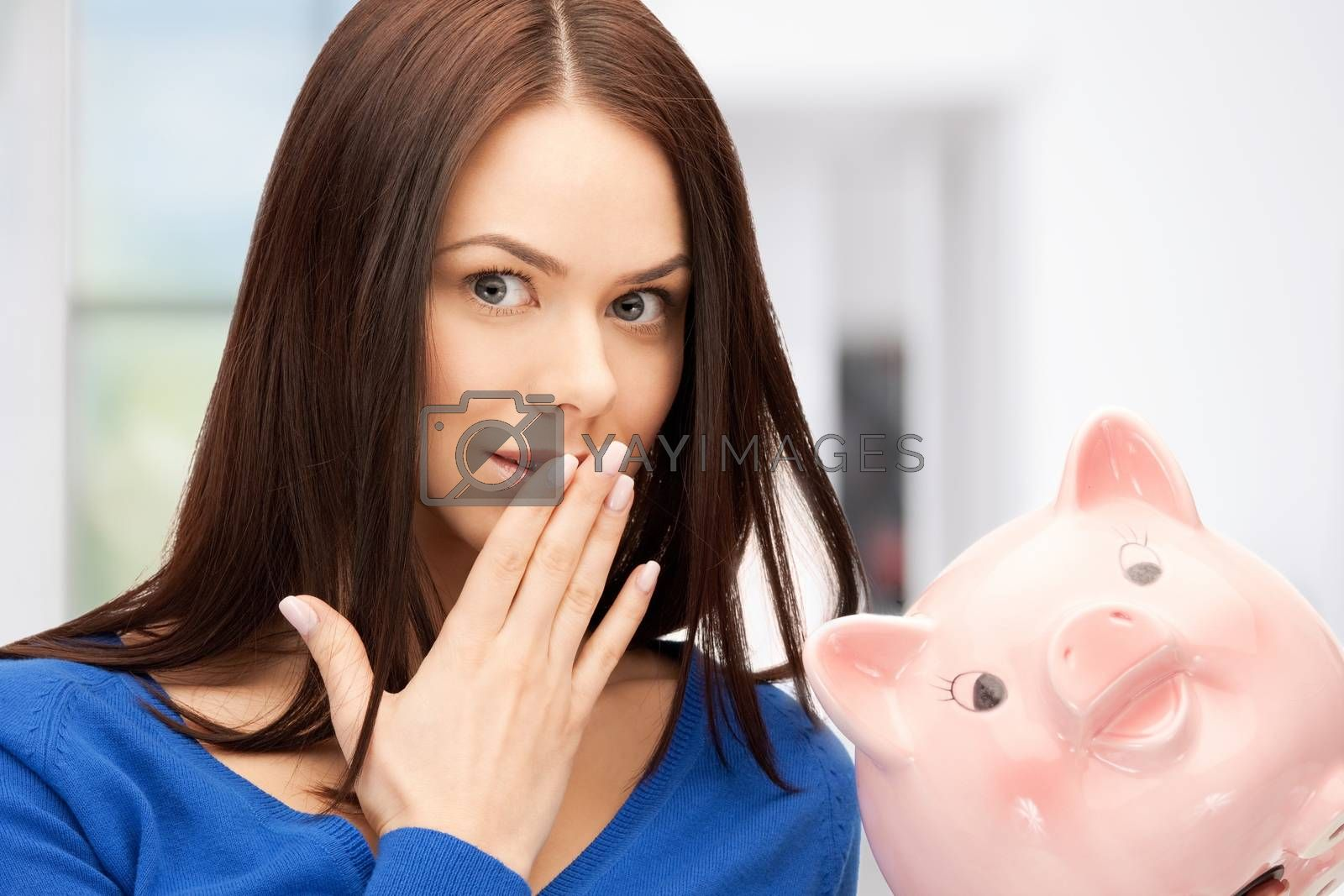 lovely woman with piggy bank by dolgachov