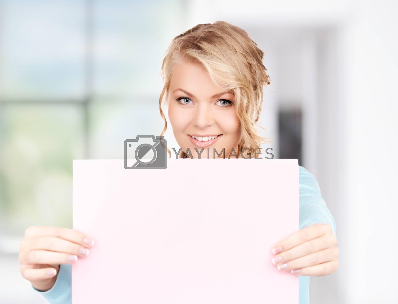 happy woman with blank board by dolgachov