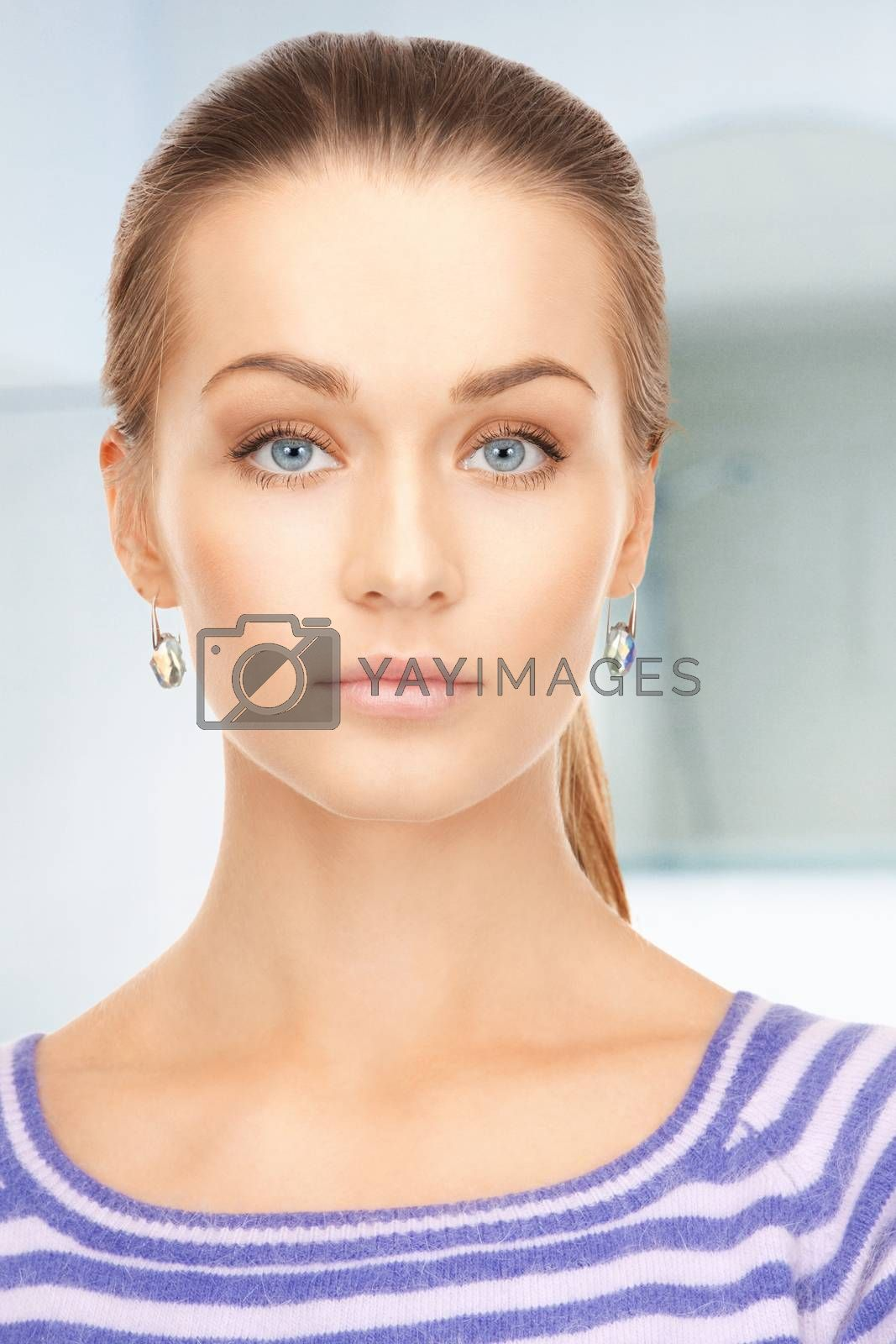 lovely woman in striped sweater by dolgachov