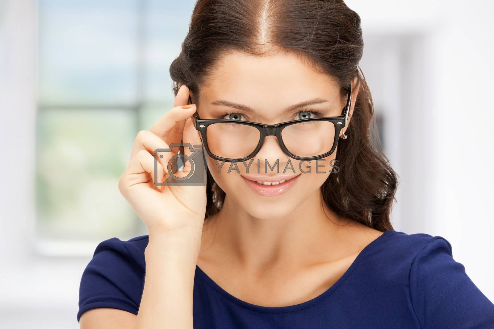 lovely woman in spectacles by dolgachov