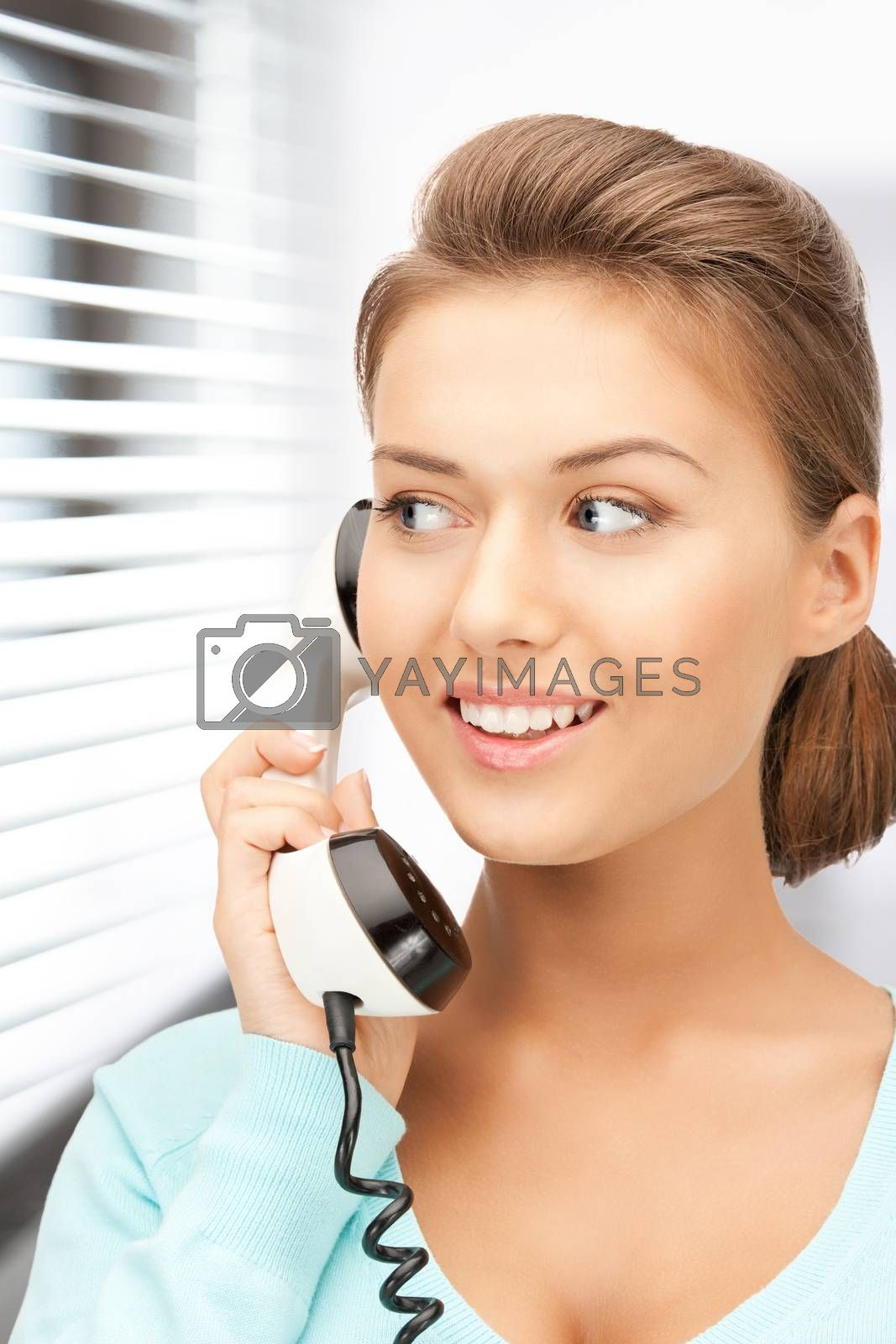 businesswoman with phone by dolgachov