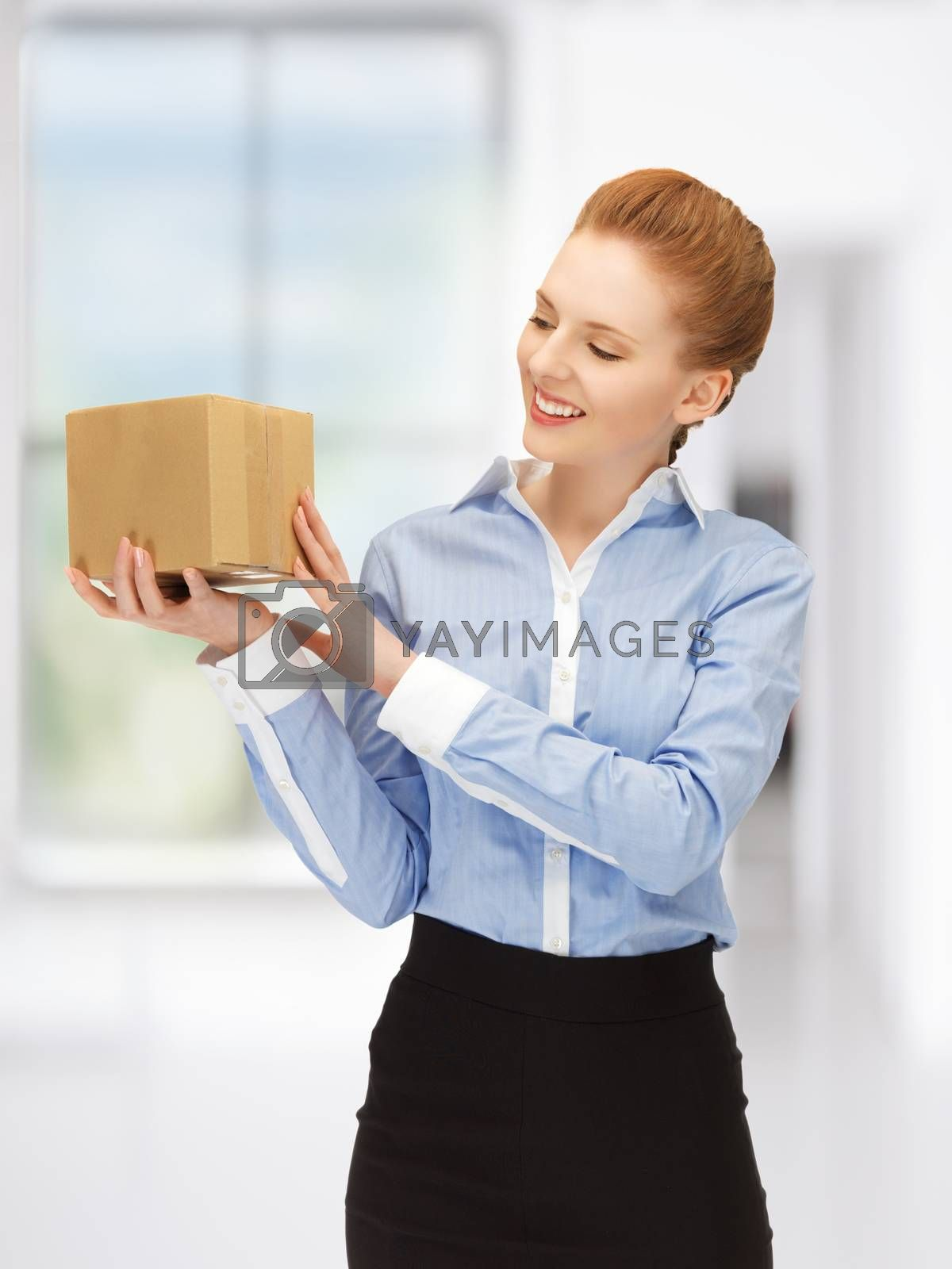 businesswoman with parcel by dolgachov
