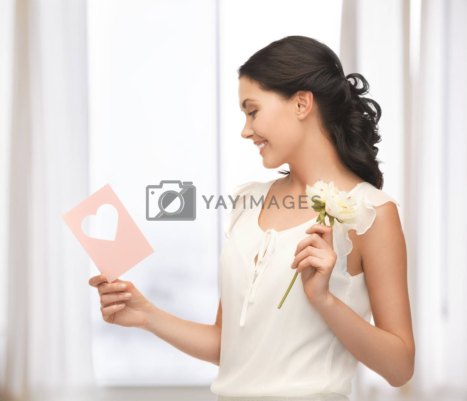 young woman holding flower and postcard by dolgachov