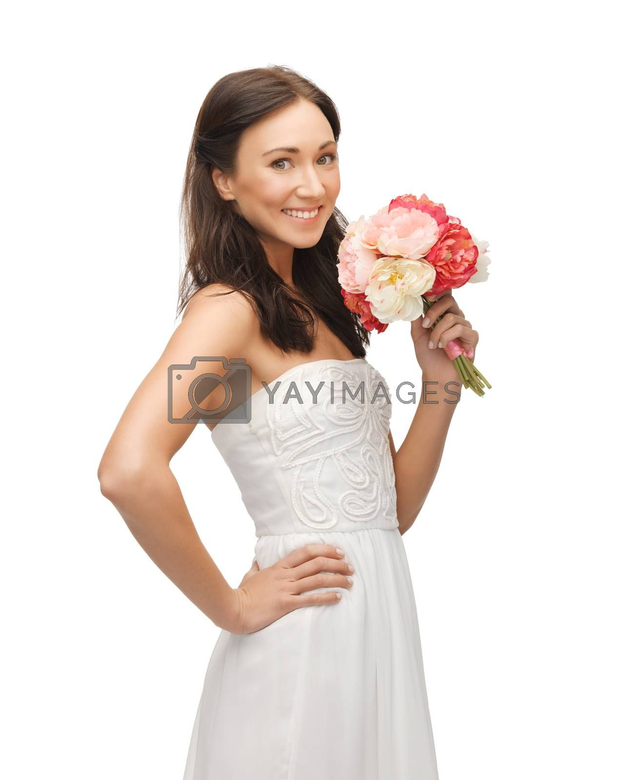 woman smelling bouquet of flowers by dolgachov