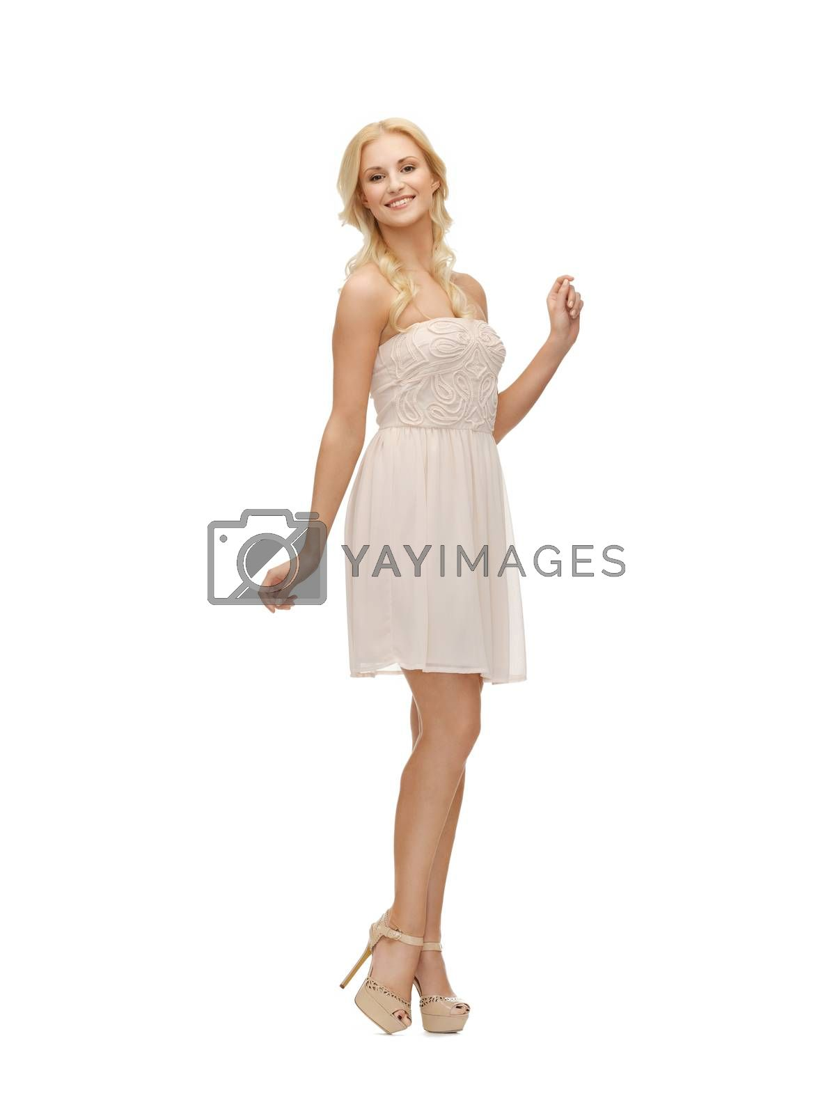 woman in white dress by dolgachov