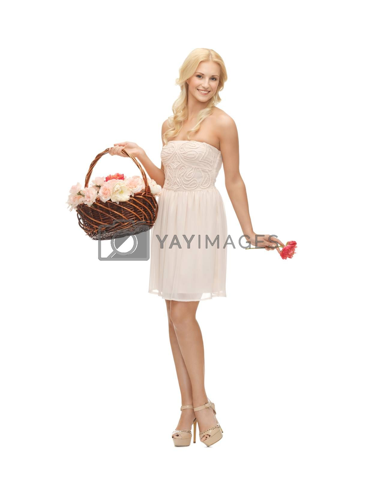 woman with basket full of flowers by dolgachov