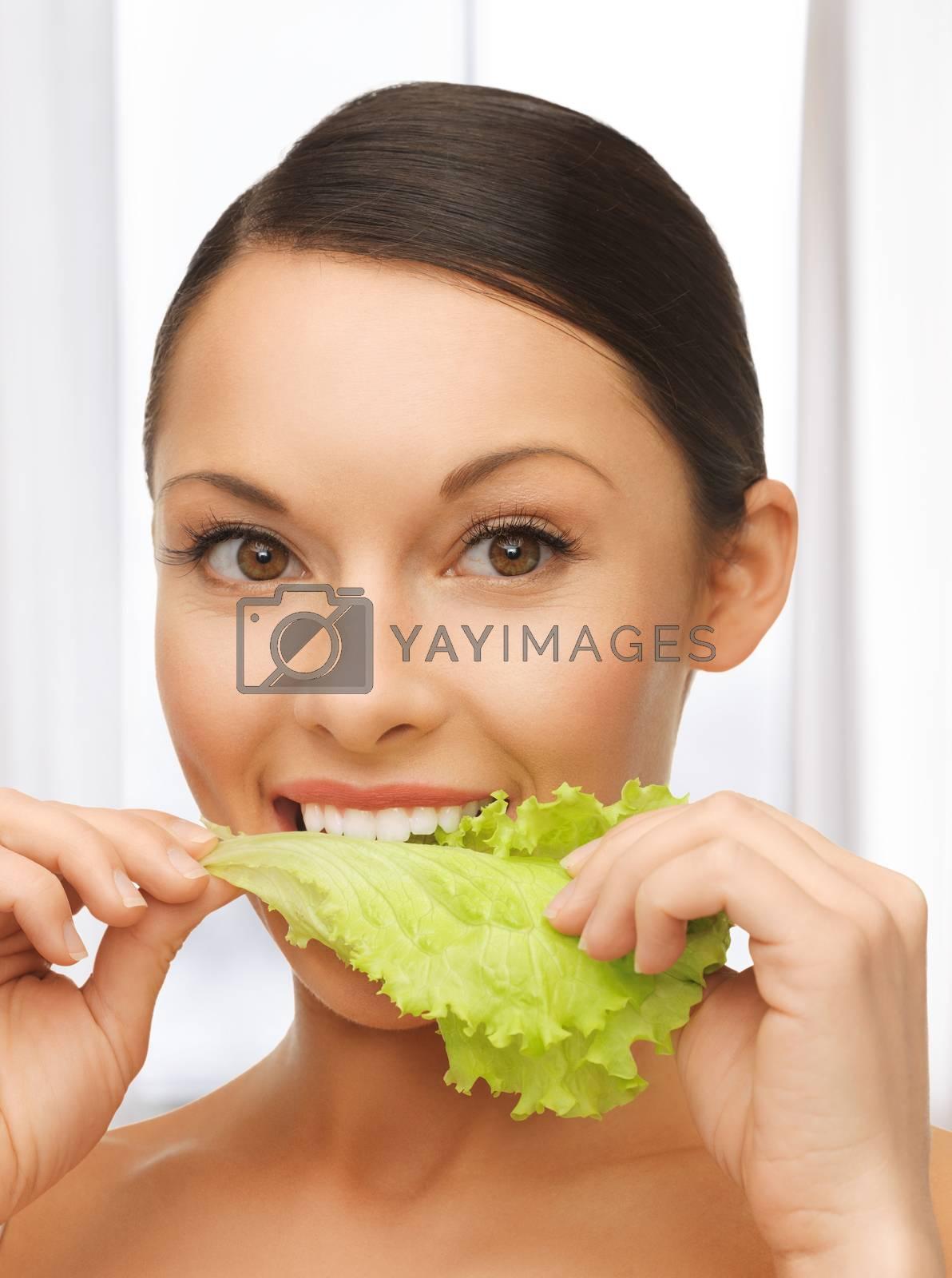 woman with lettuce by dolgachov