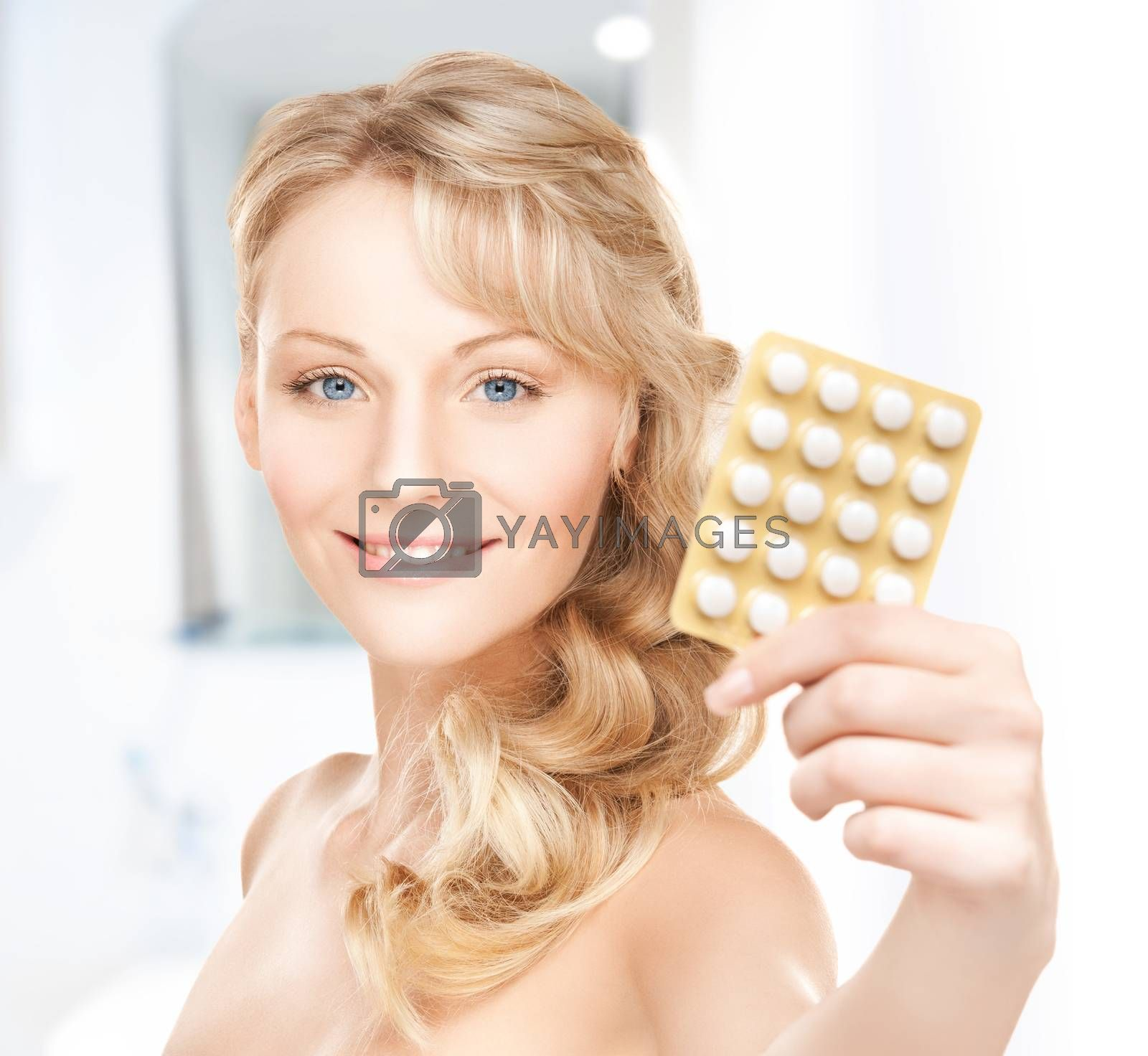 young woman with pills by dolgachov
